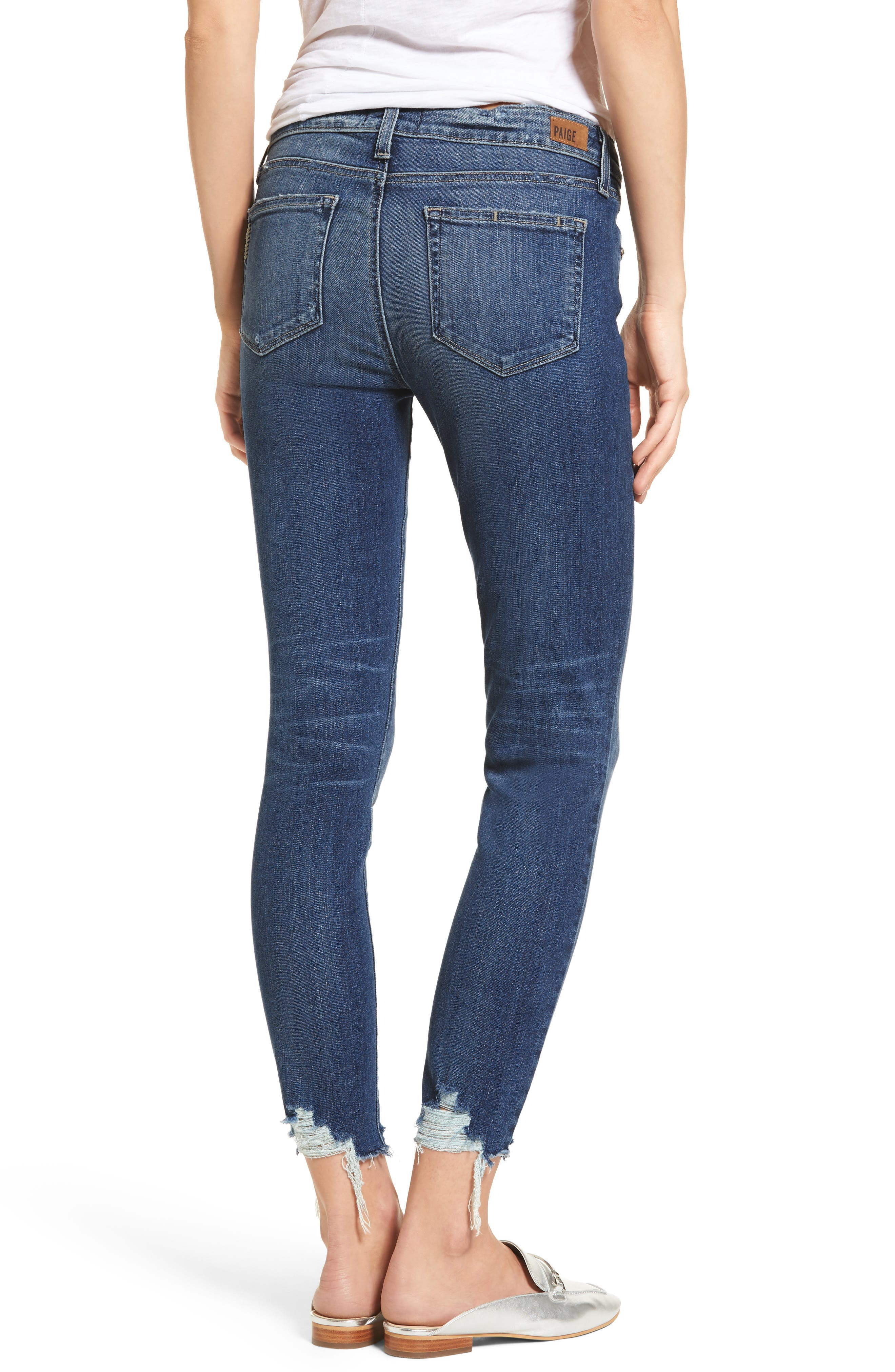 Transcend Vintage - Verdugo Ankle Skinny Jeans,                             Alternate thumbnail 2, color,                             Malibu Super Distressed