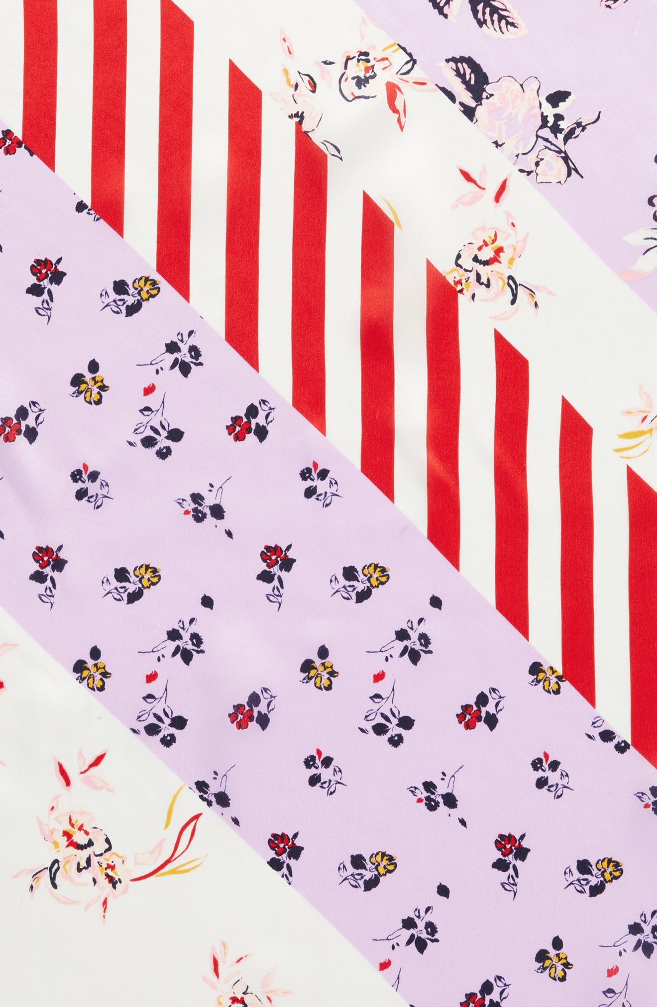 Print Silk Scarf,                             Alternate thumbnail 4, color,                             Purple Fab Mix Match Print