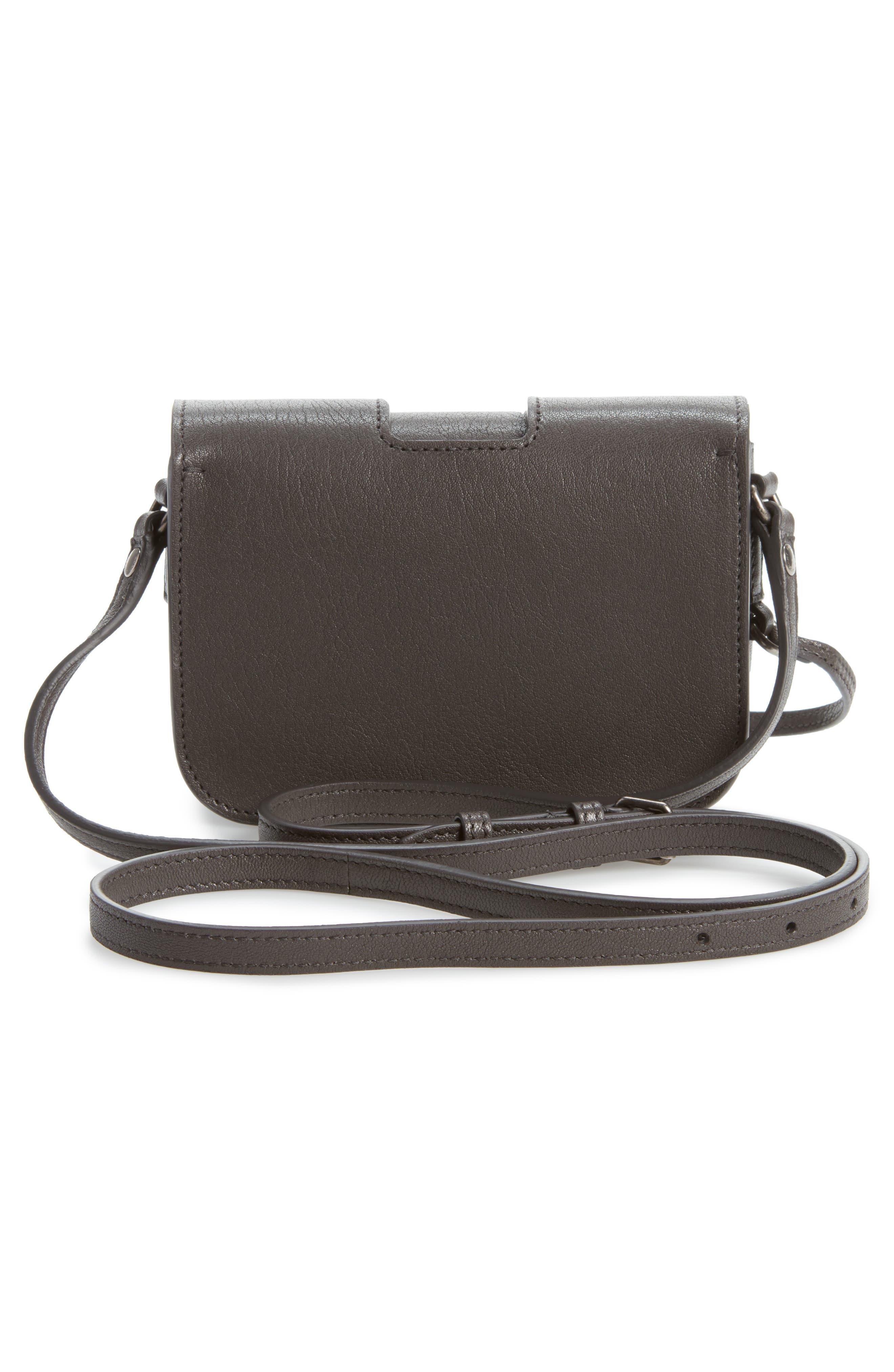 Calfskin Leather Crossbody Bag,                             Alternate thumbnail 4, color,                             Asphalt