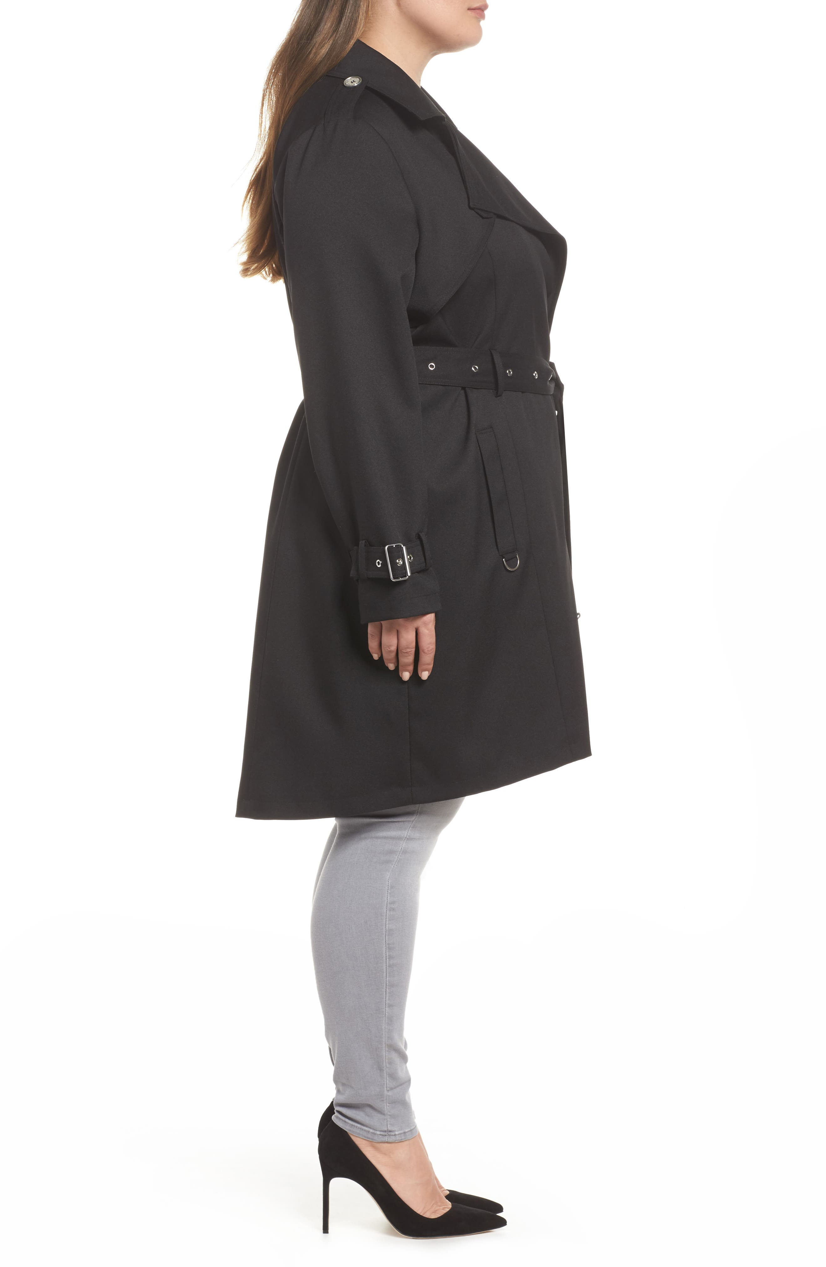 Flowy Belted Trench Coat,                             Alternate thumbnail 3, color,                             Black