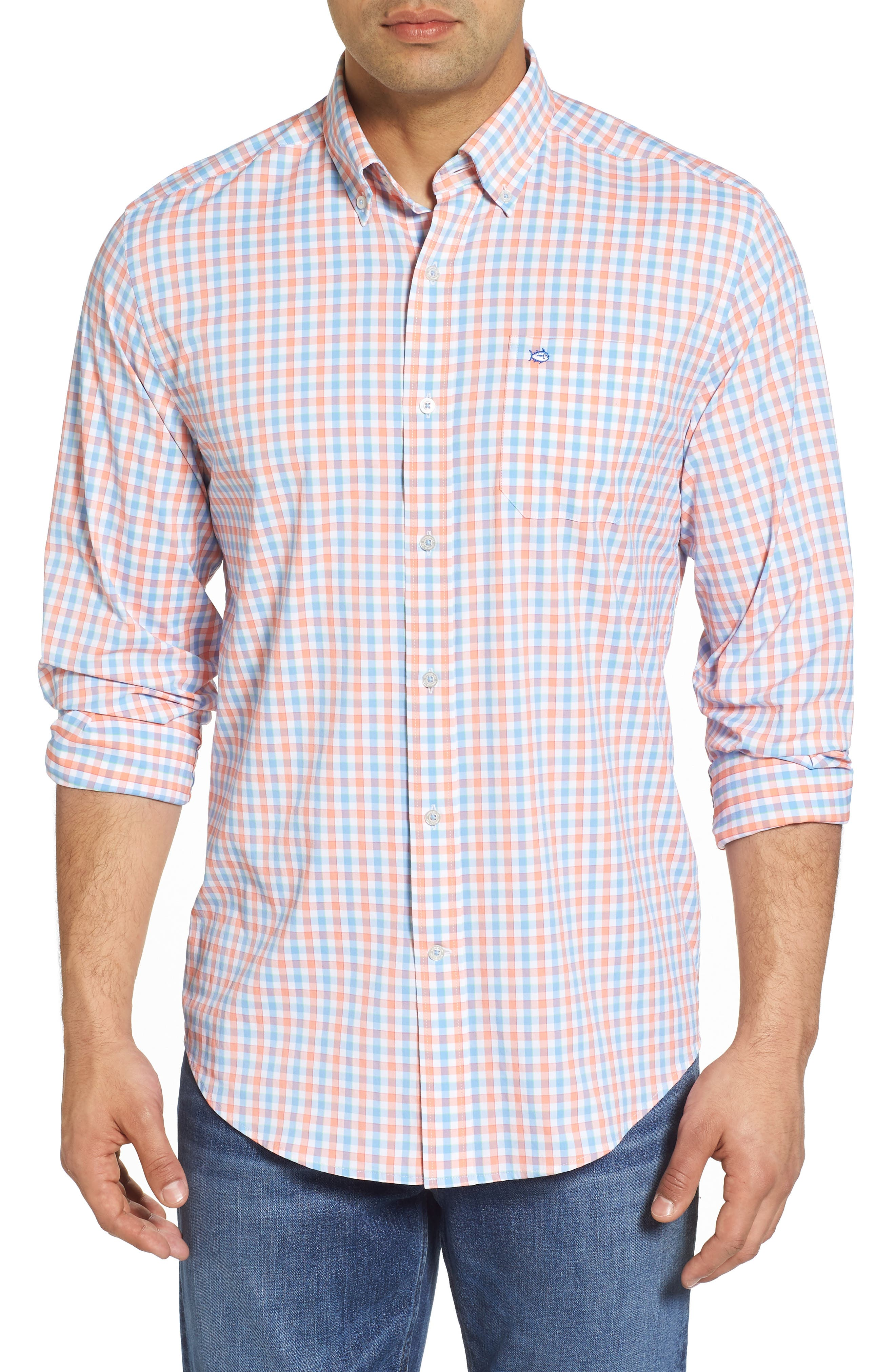 Market Square Regular Fit Stretch Check Sport Shirt,                             Main thumbnail 1, color,                             Nectar Coral