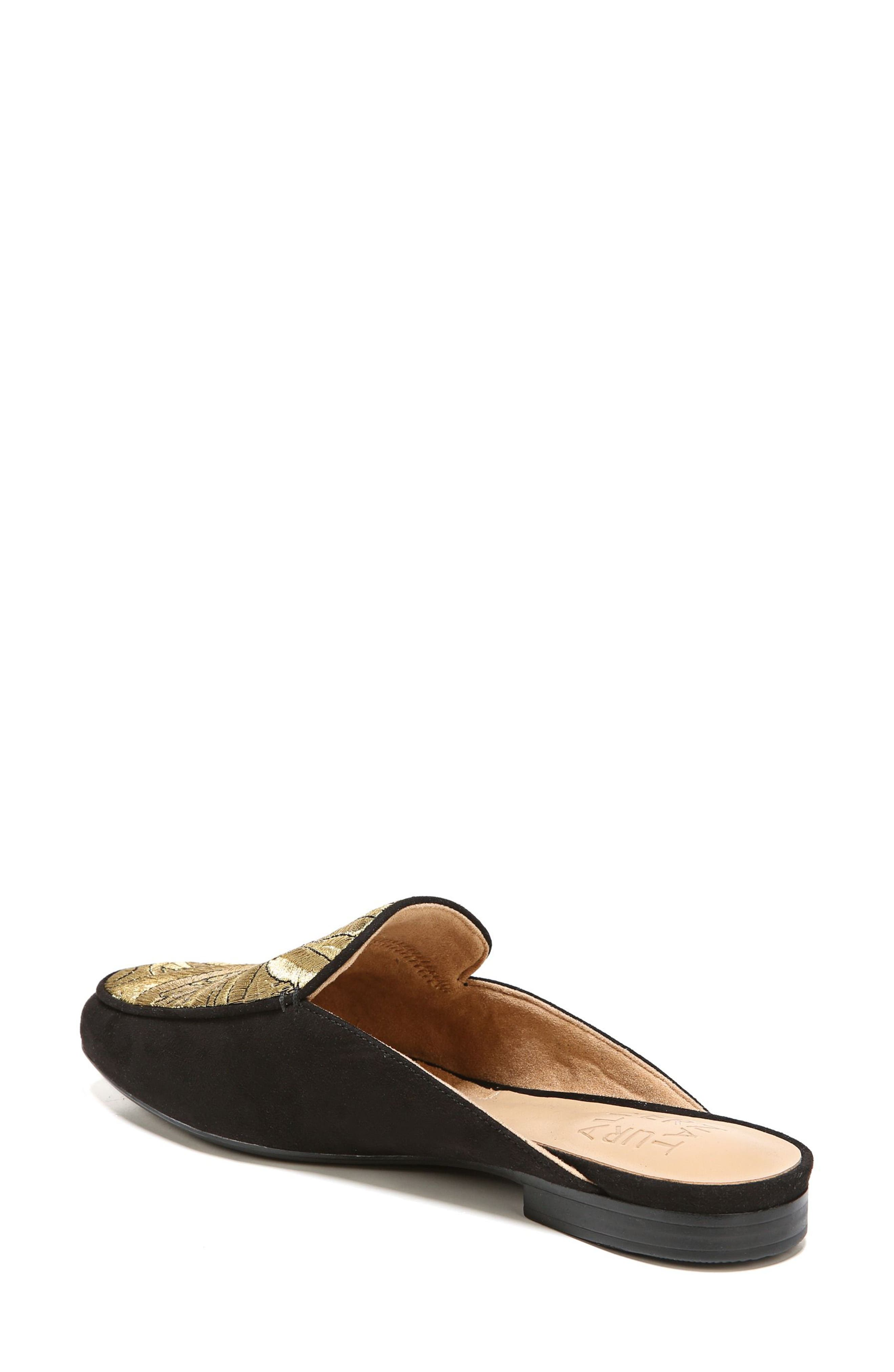Eden II Embroidered Mule,                             Alternate thumbnail 2, color,                             Black/ Gold Leather