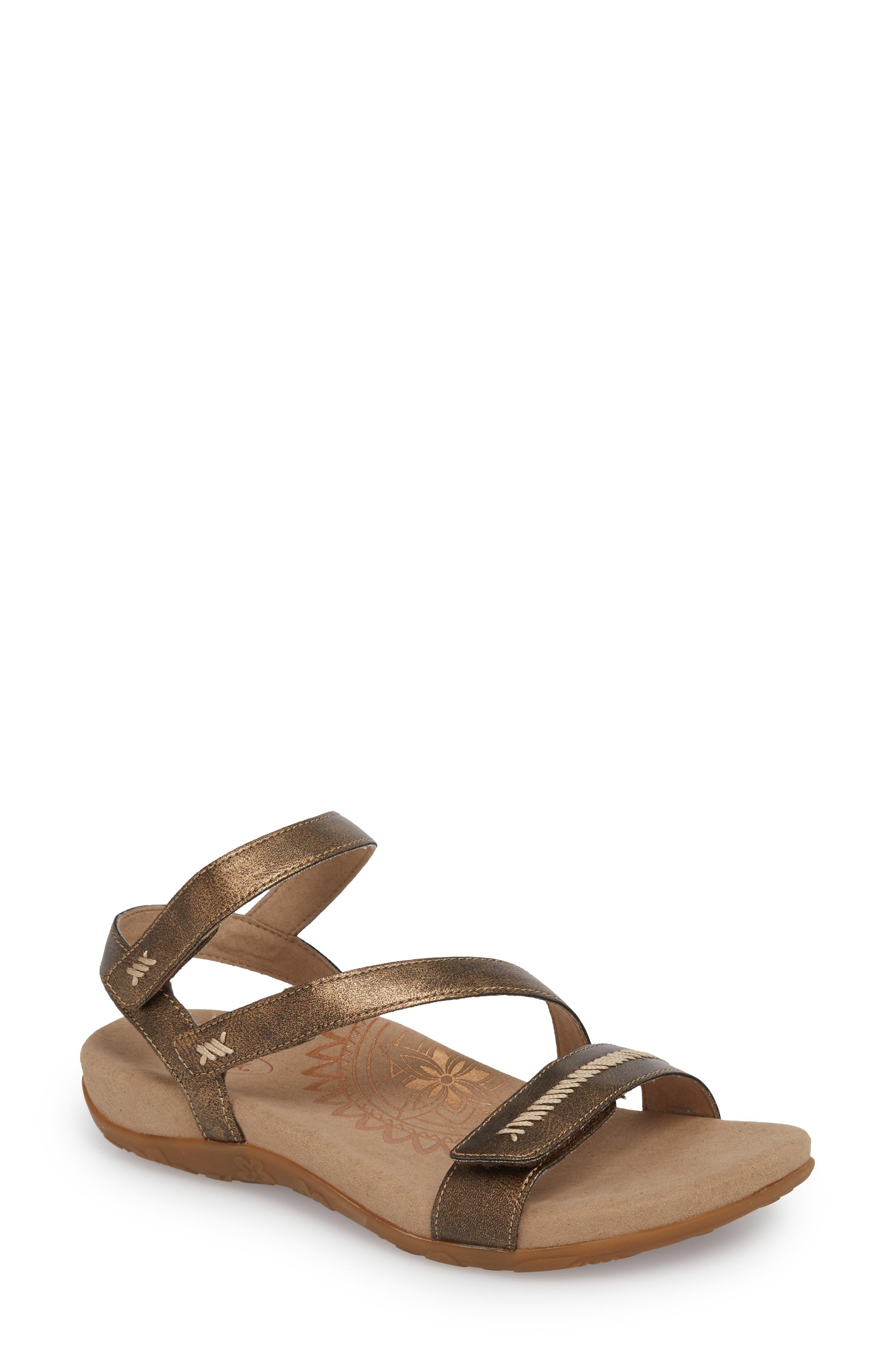 Gabby Sandal,                         Main,                         color, Bronze Leather