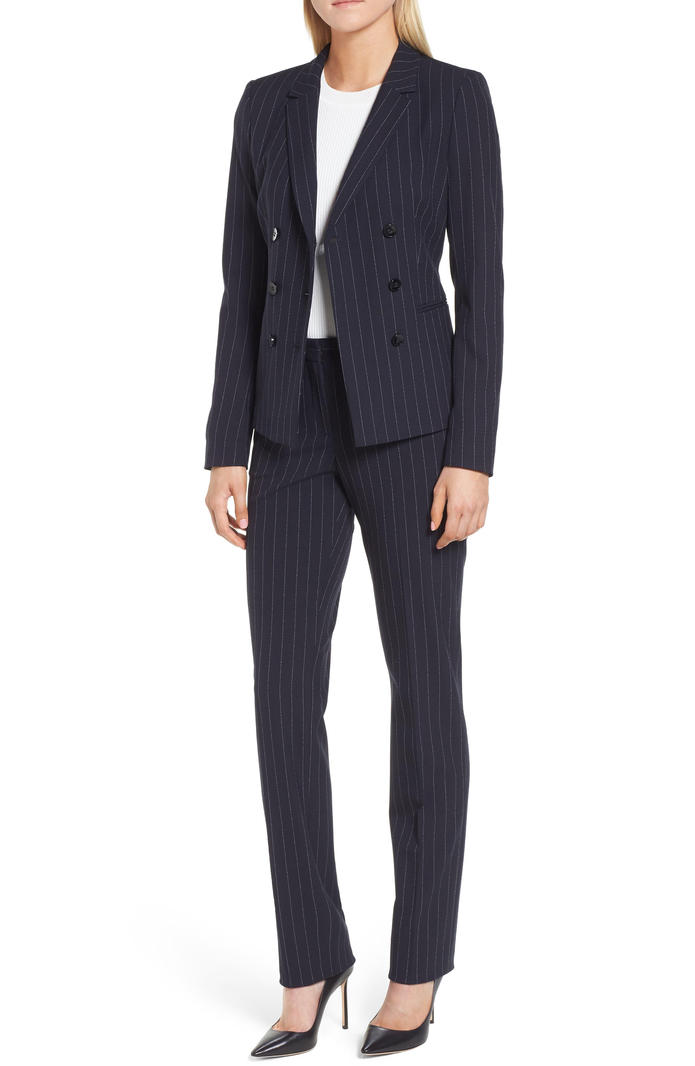 Titana Pinstripe Suit Trousers,                             Alternate thumbnail 2, color,                             Navy Fantasy