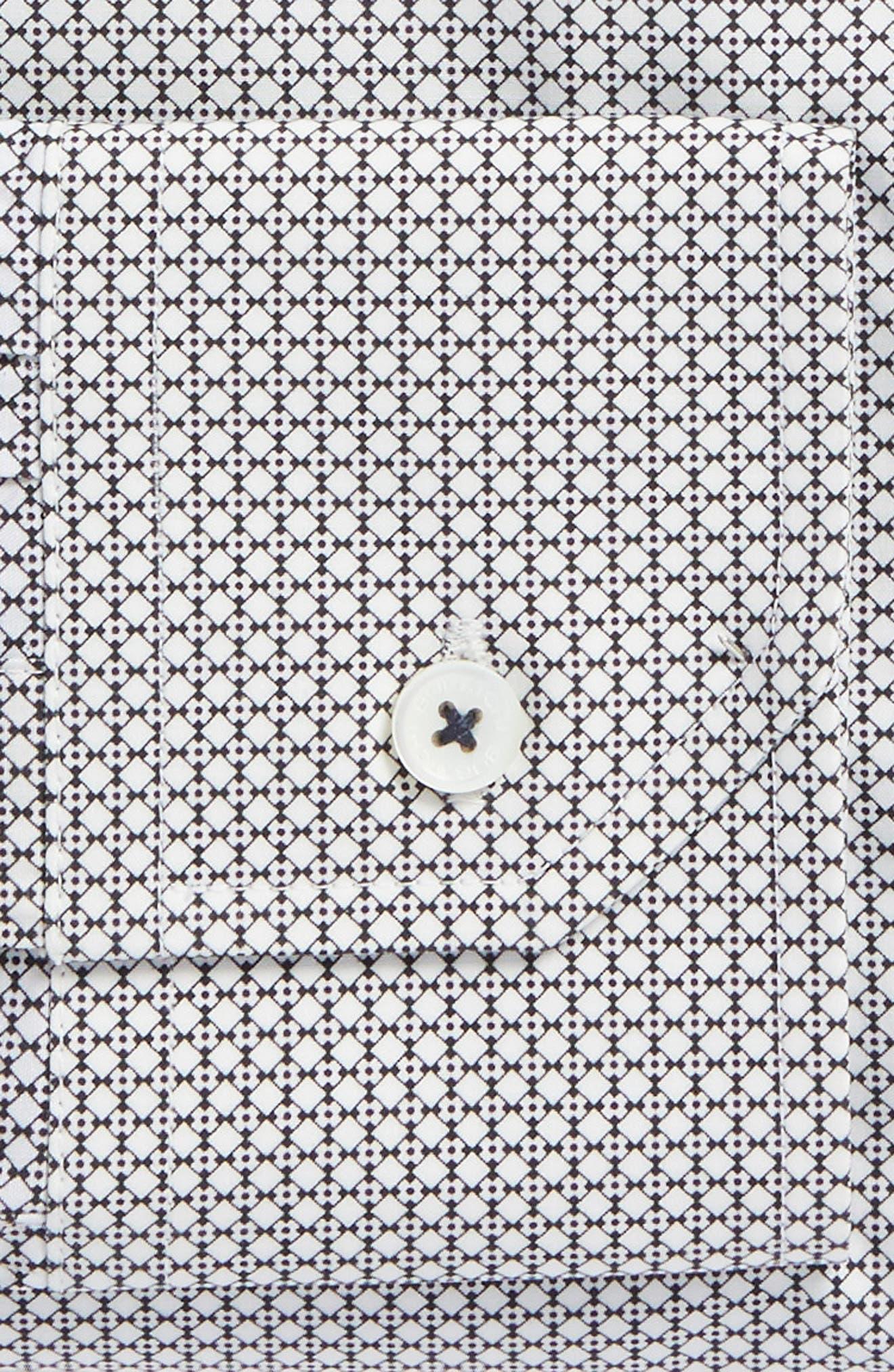 Trim Fit Print Dress Shirt,                             Alternate thumbnail 5, color,                             Platinum