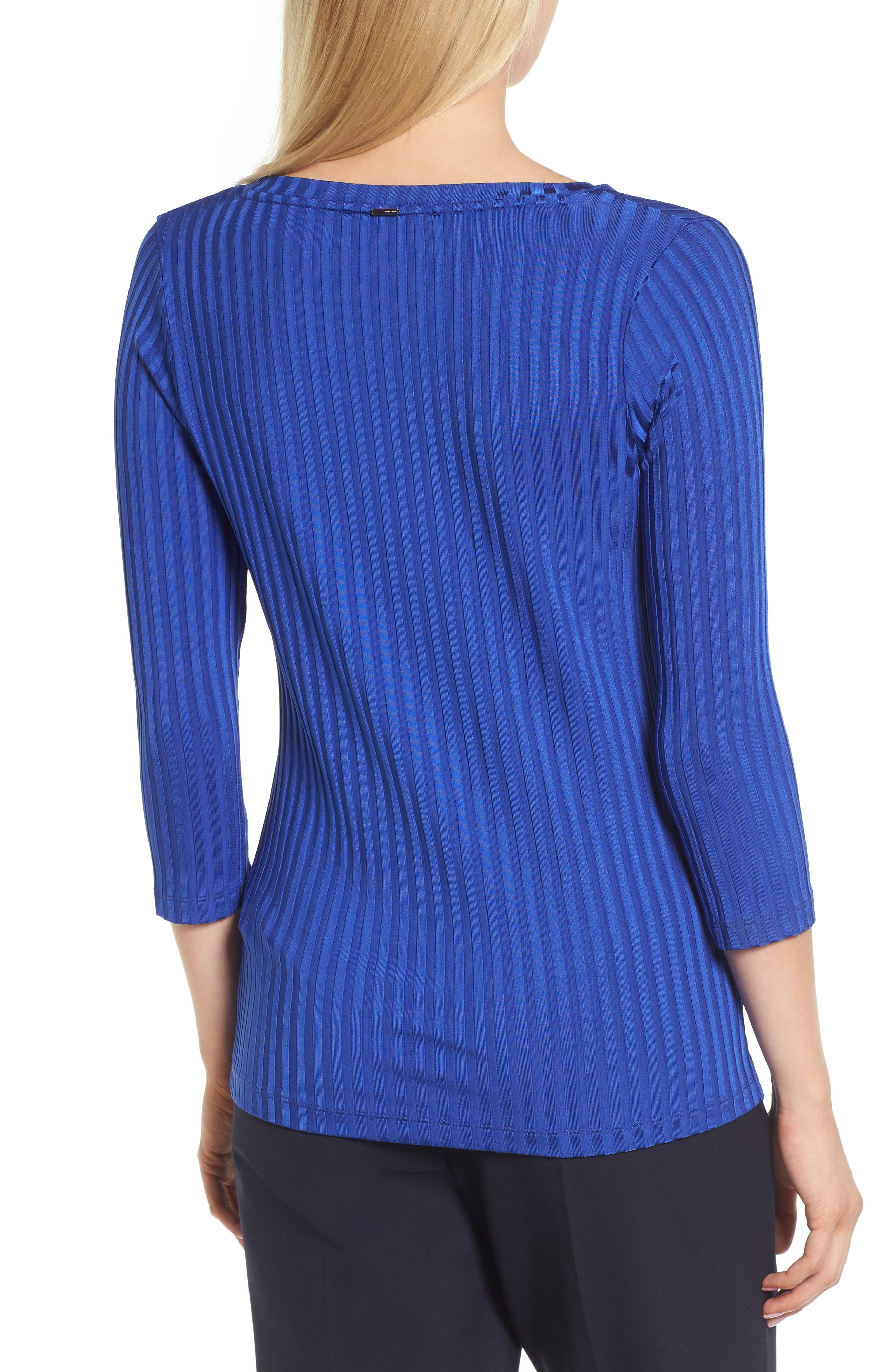 Etrica V-Neck Ribbed Top,                             Alternate thumbnail 2, color,                             Sailor Blue