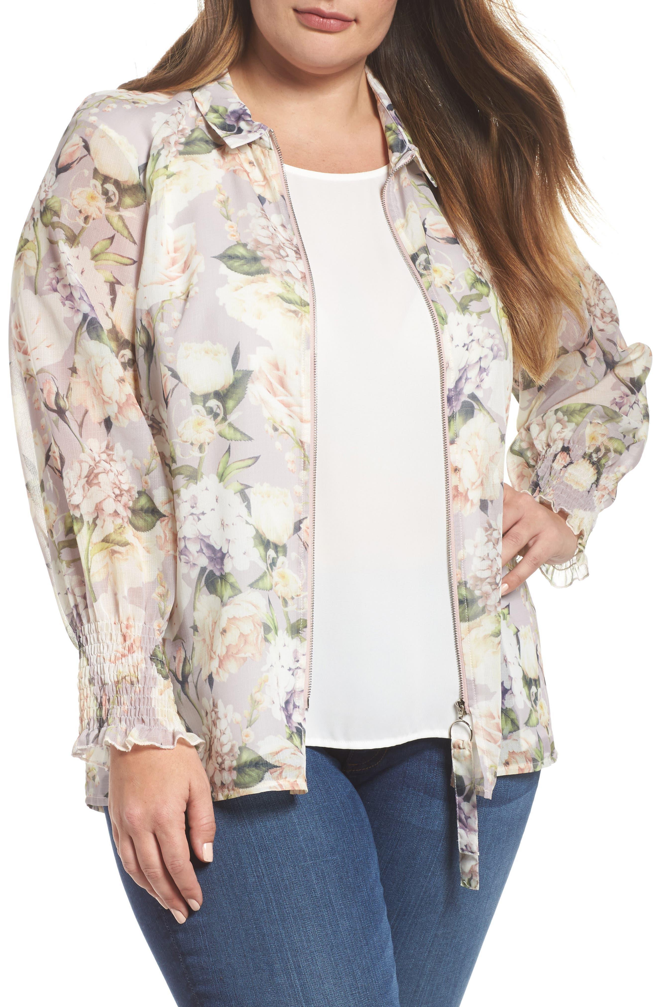The Talinum Floral Zip Shirt,                             Main thumbnail 1, color,                             Purple