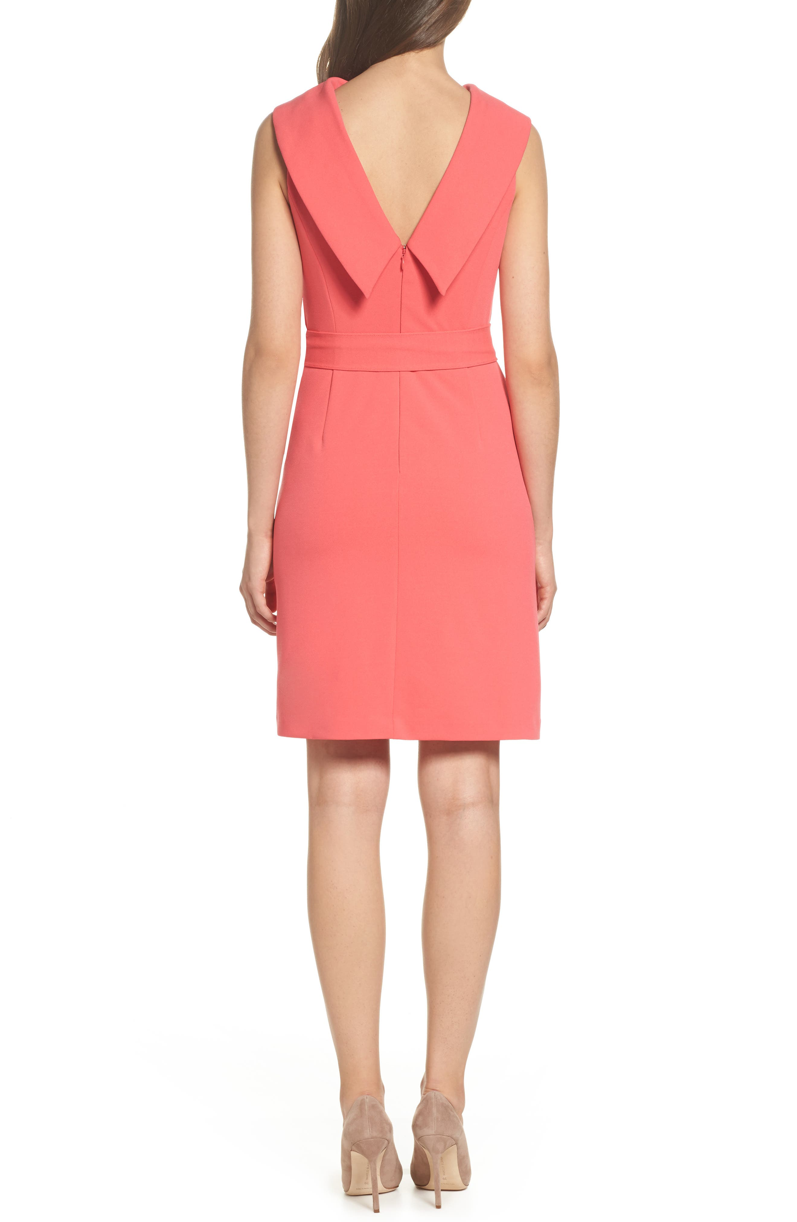 Roll Neck Crepe Dress,                             Alternate thumbnail 2, color,                             Strawberry Pink