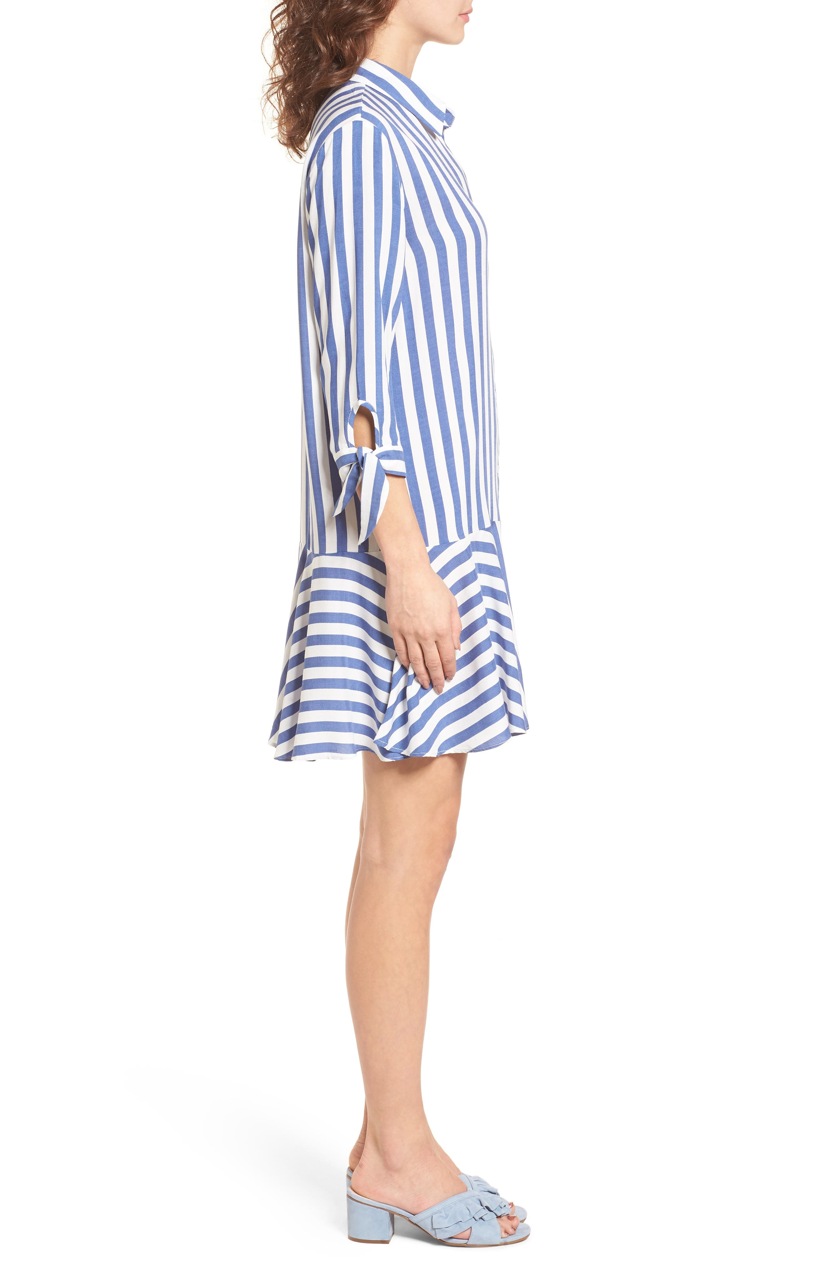 Drop Waist Shirtdress,                             Alternate thumbnail 3, color,                             Blue/ White