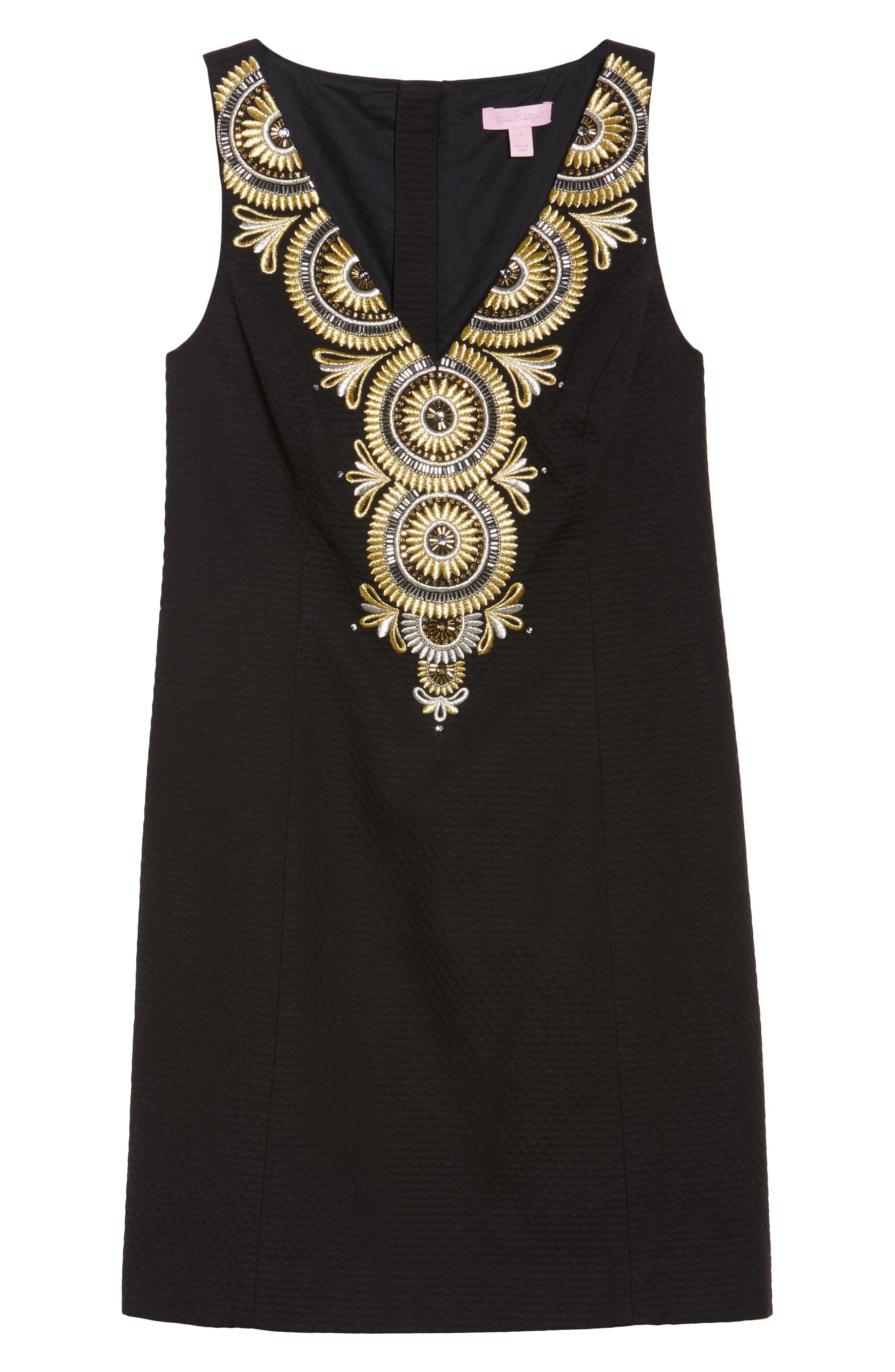 Gabby Sheath Dress,                             Alternate thumbnail 6, color,                             Onyx