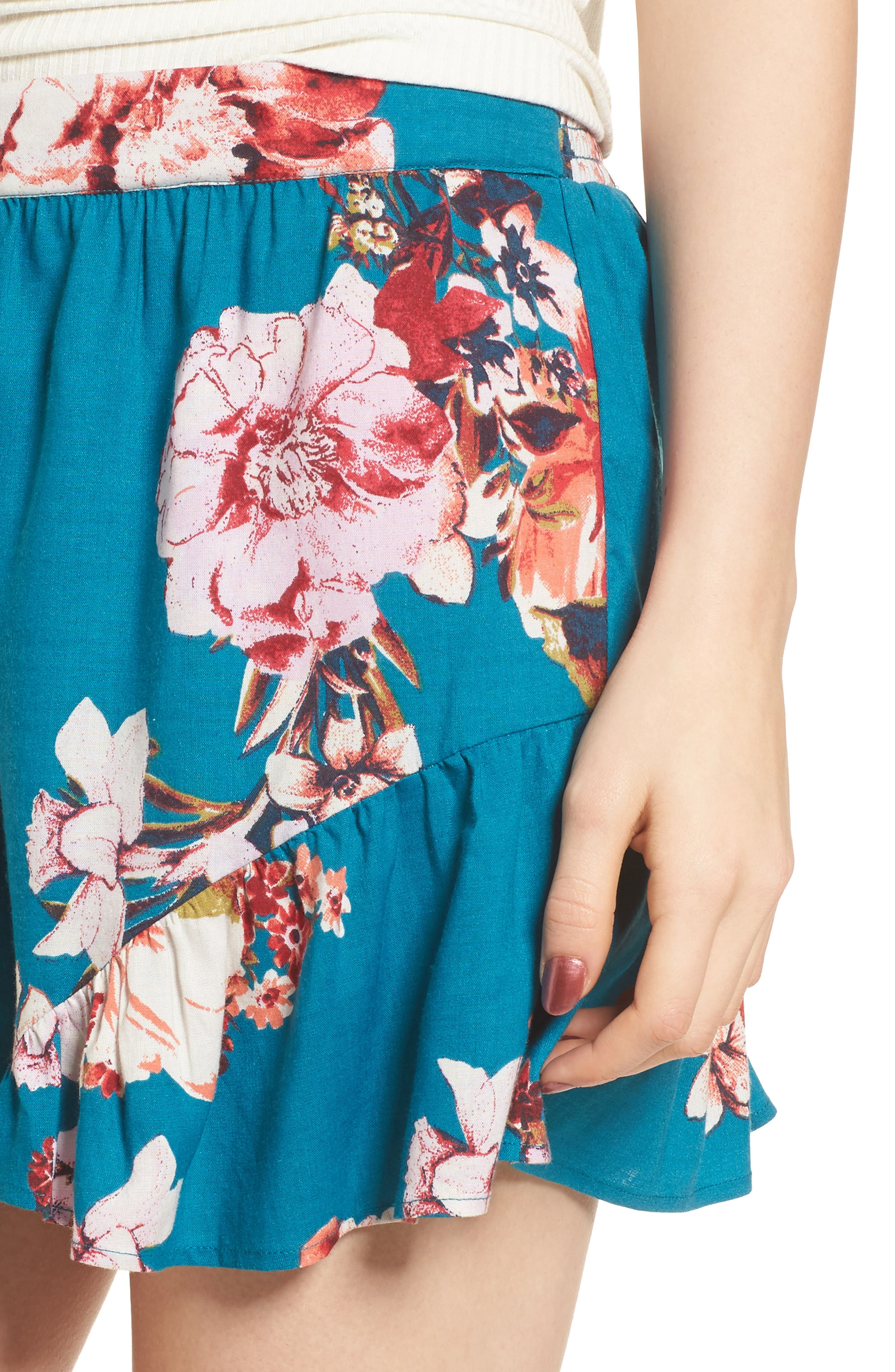 Floral Print Ruffle Hem Shorts,                             Alternate thumbnail 5, color,                             Teal/ Peach