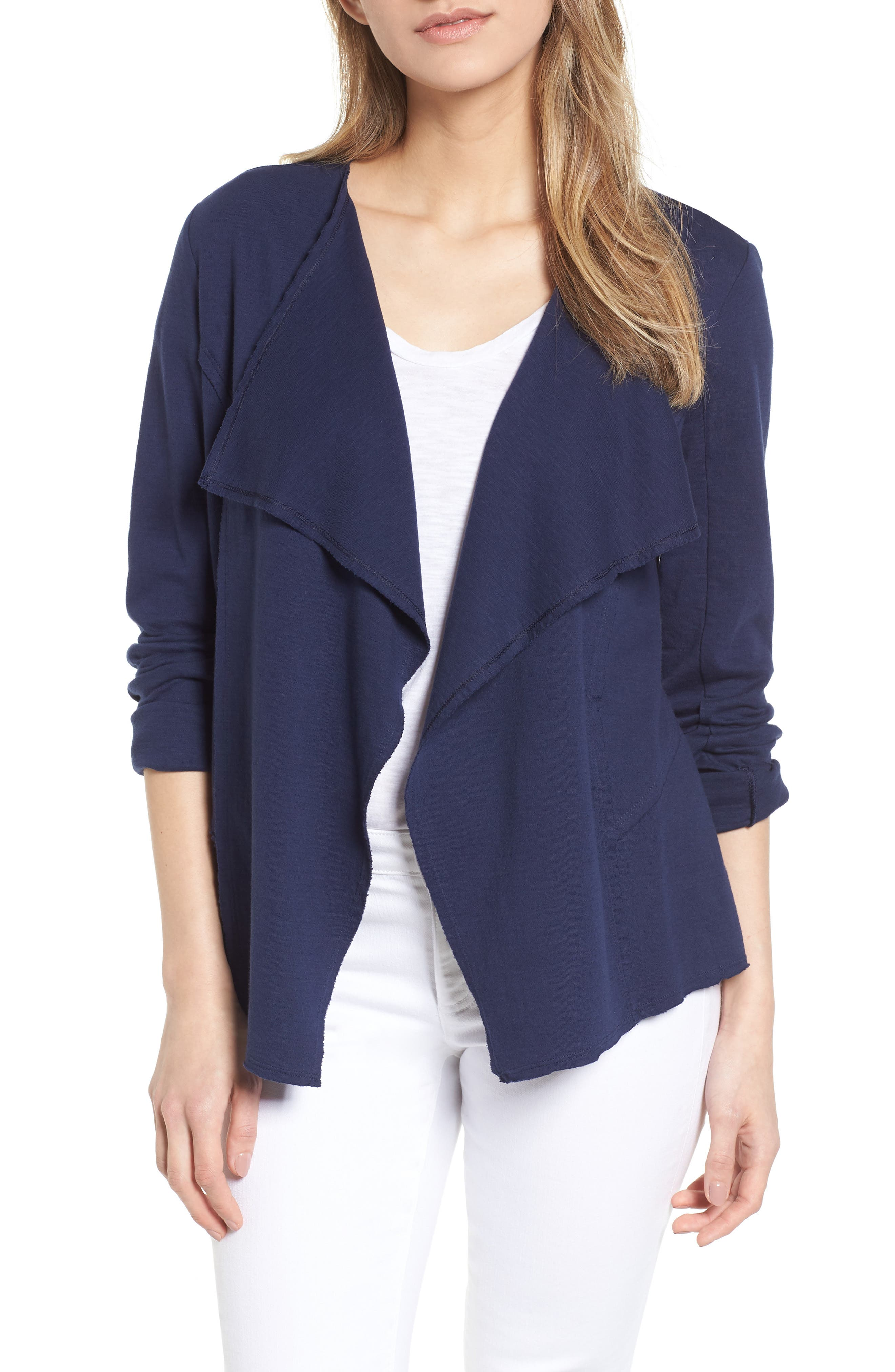 Caslon® Moto Collar Cotton Knit Jacket (Regular & Petite)