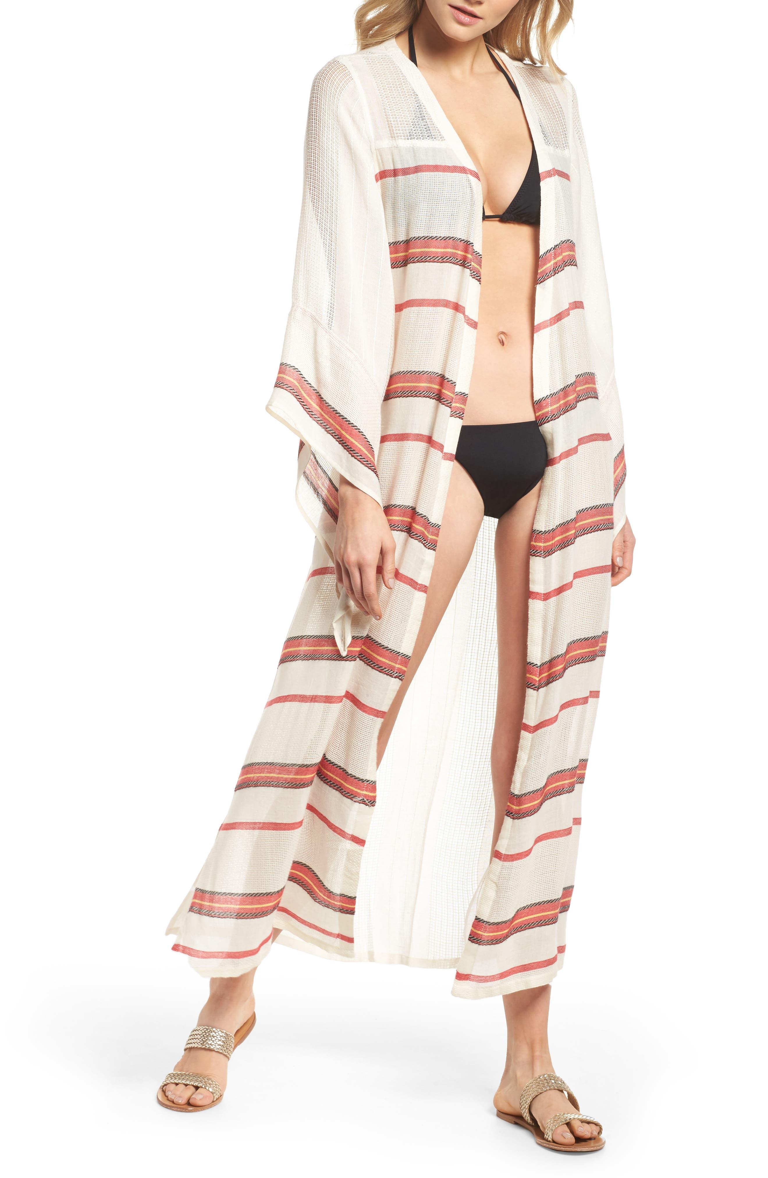 Paradise Cover-Up Kimono,                         Main,                         color, Natural Stripe