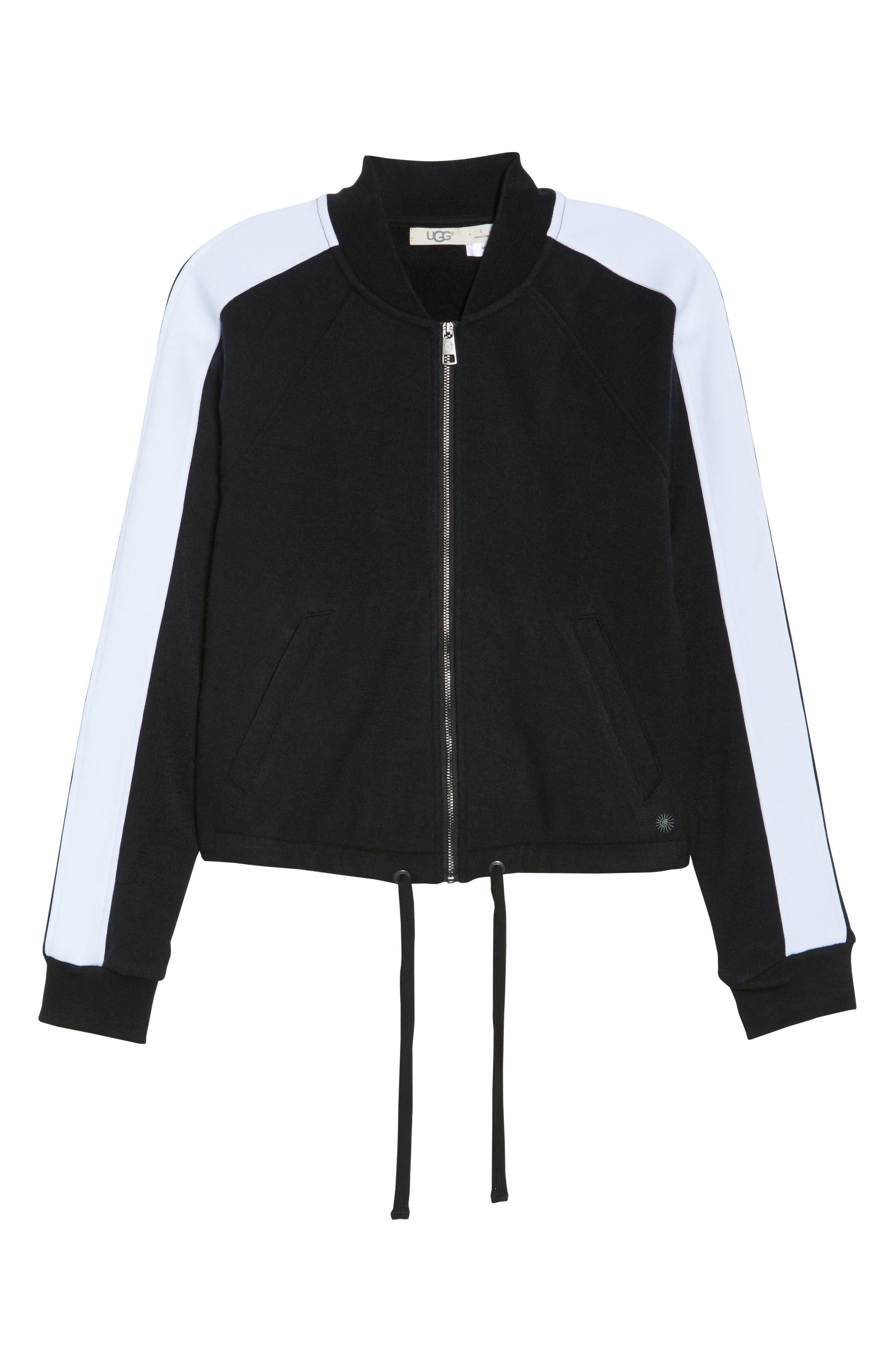 Lizy Track Jacket,                             Alternate thumbnail 4, color,                             Black