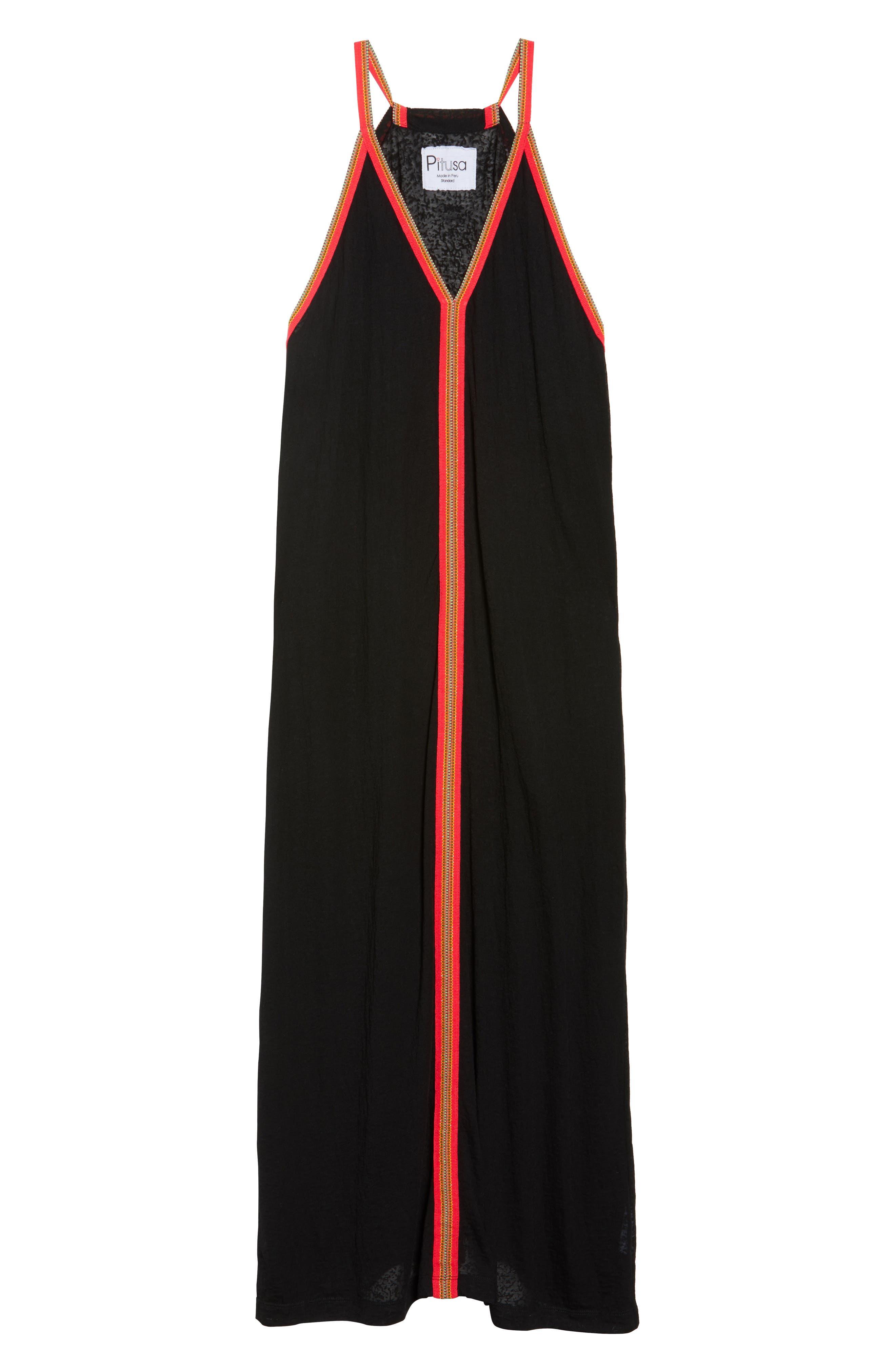 Inca Cover-Up Maxi Sundress,                             Alternate thumbnail 6, color,                             Black