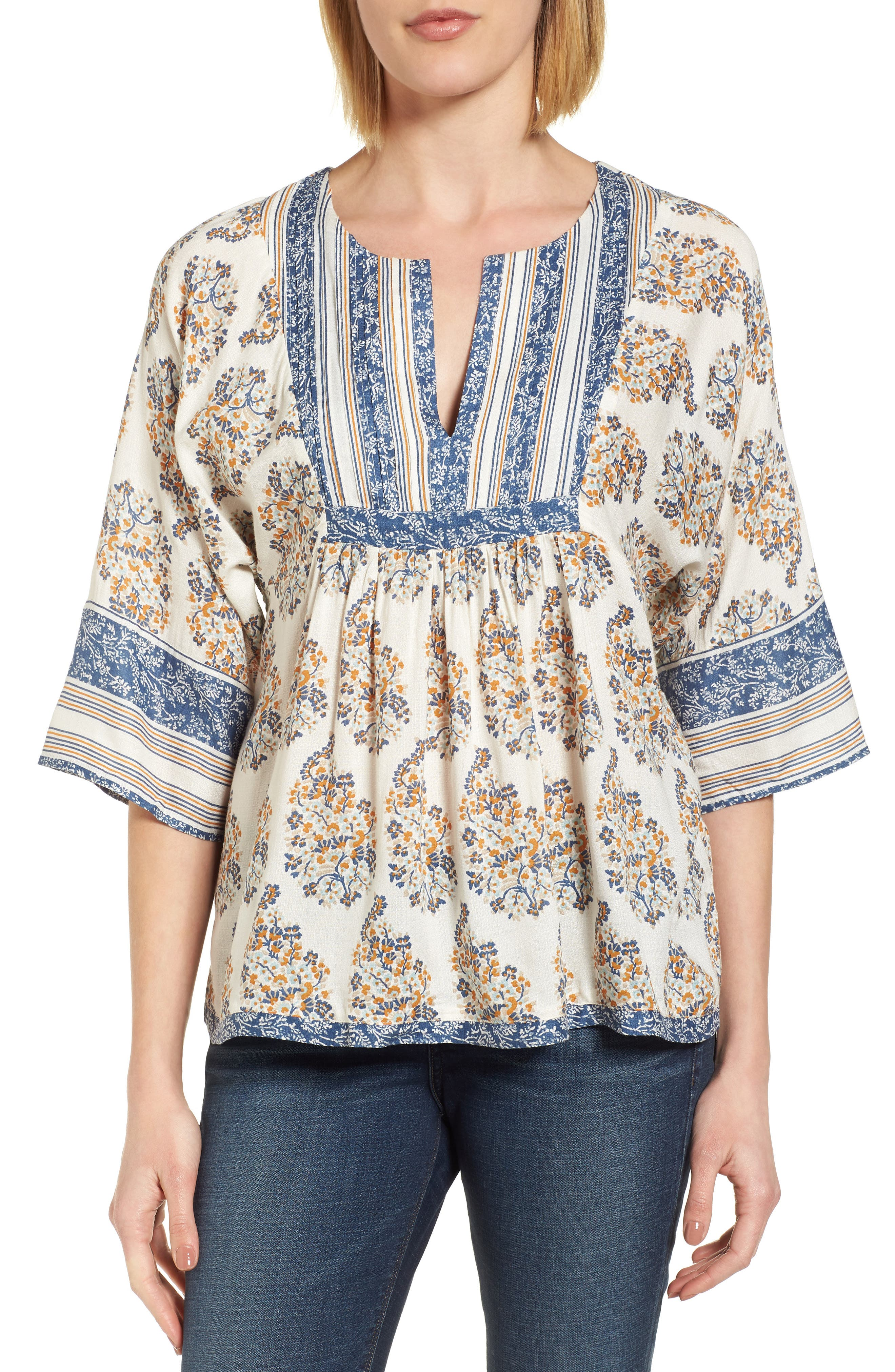 Alternate Image 1 Selected - Lucky Brand Mixed Print Peasant Top