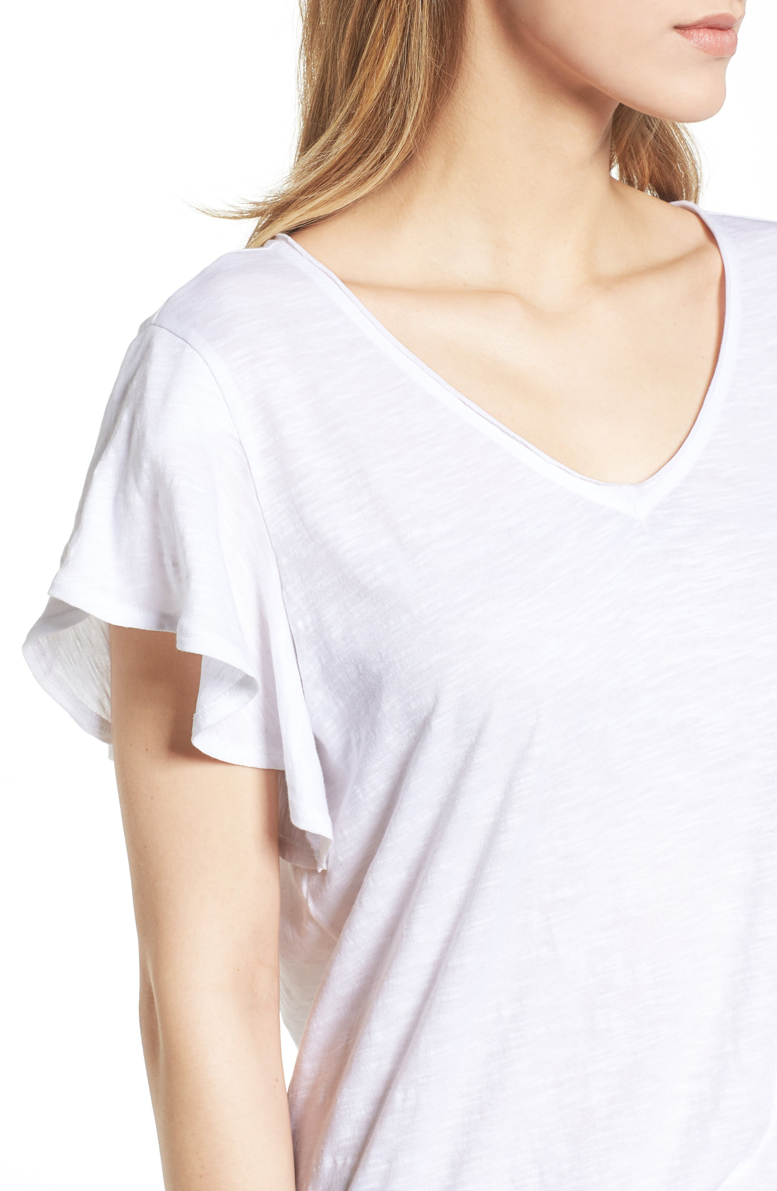 Flounce Short Sleeve Tee,                             Alternate thumbnail 4, color,                             White