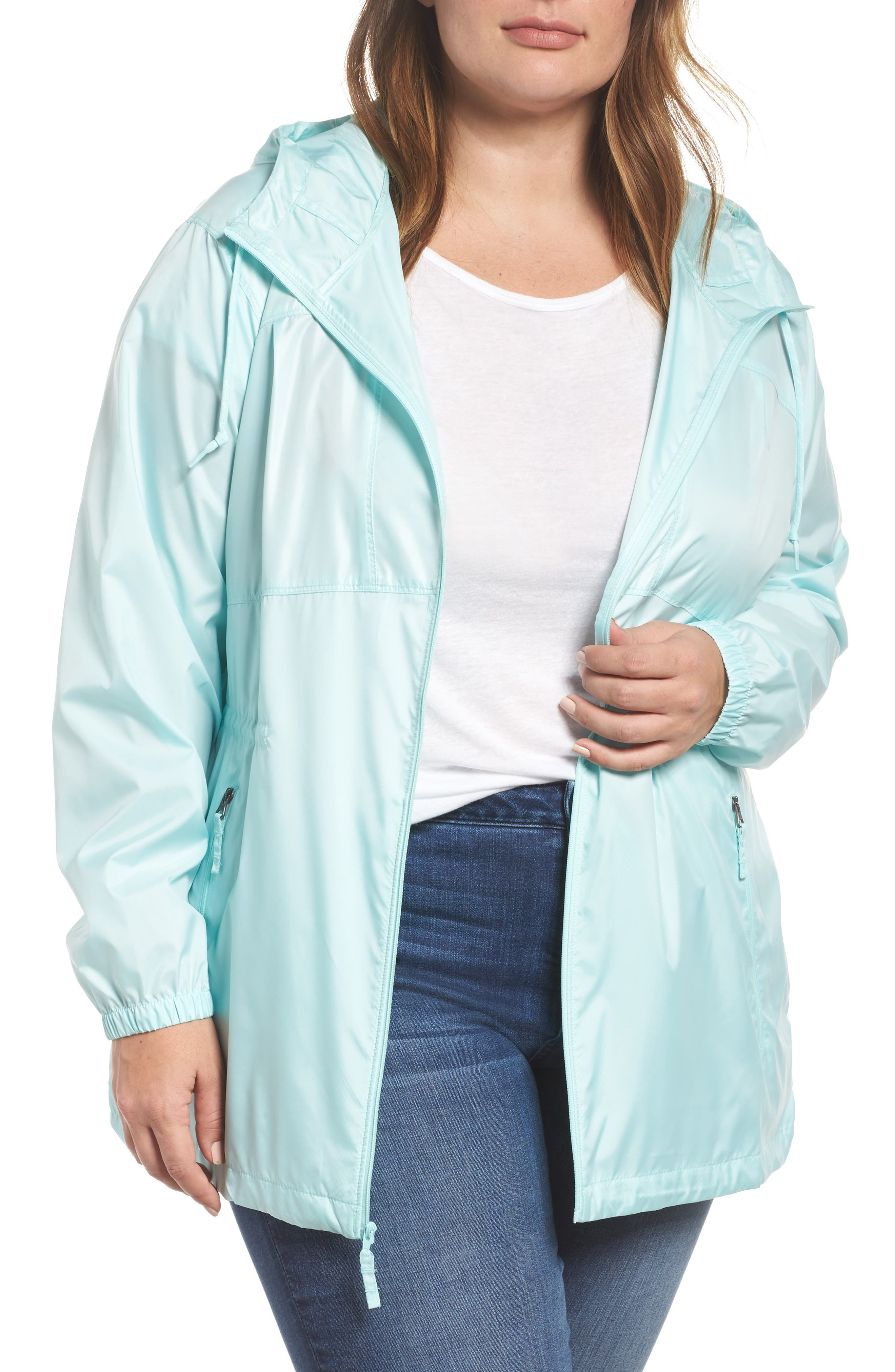 Alternate Image 1 Selected - Columbia Flashback™ Water Resistant Hooded Windbreaker (Plus Size)
