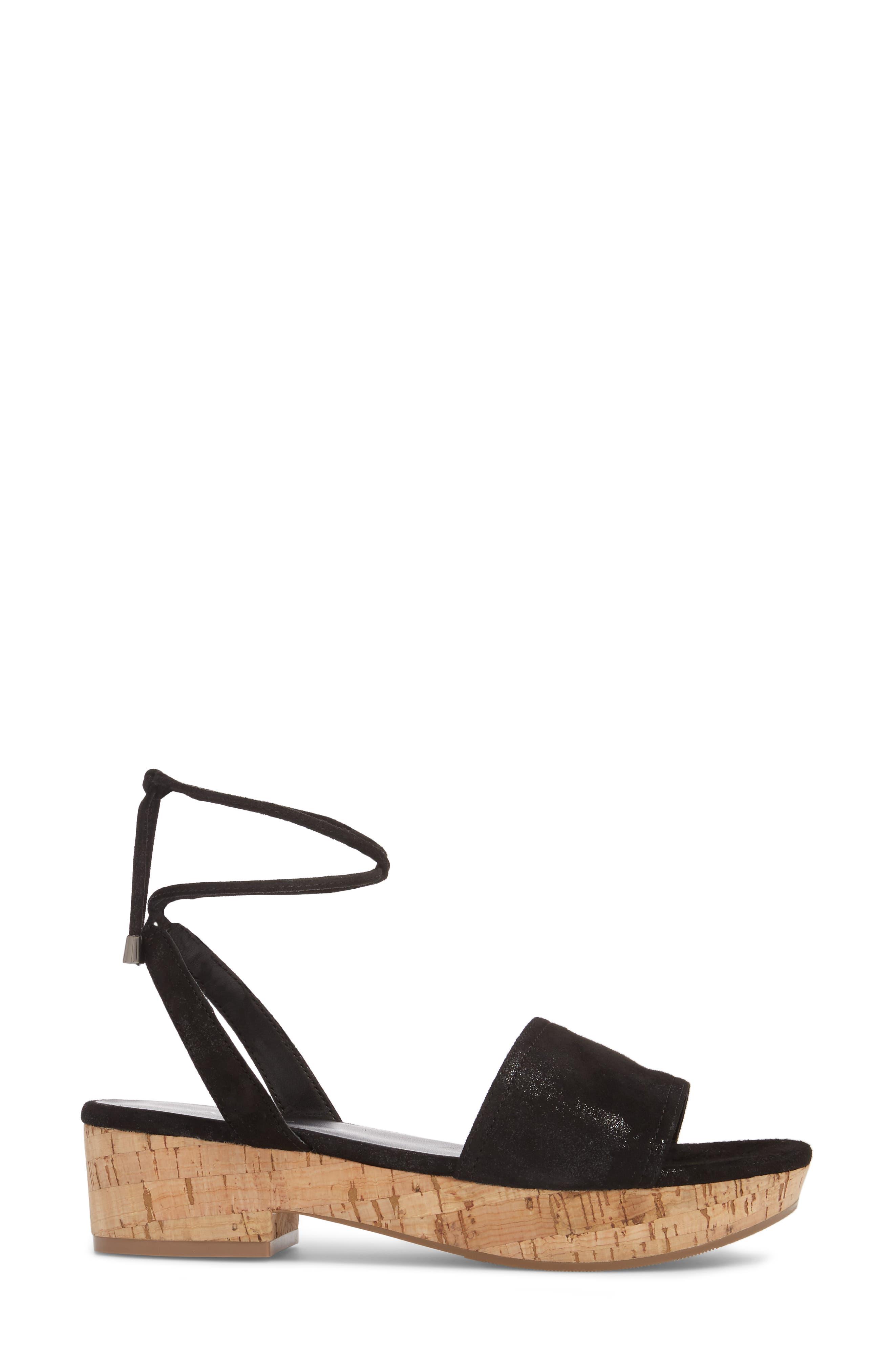 Saba Platform Sandal,                             Alternate thumbnail 3, color,                             Black Printed Suede