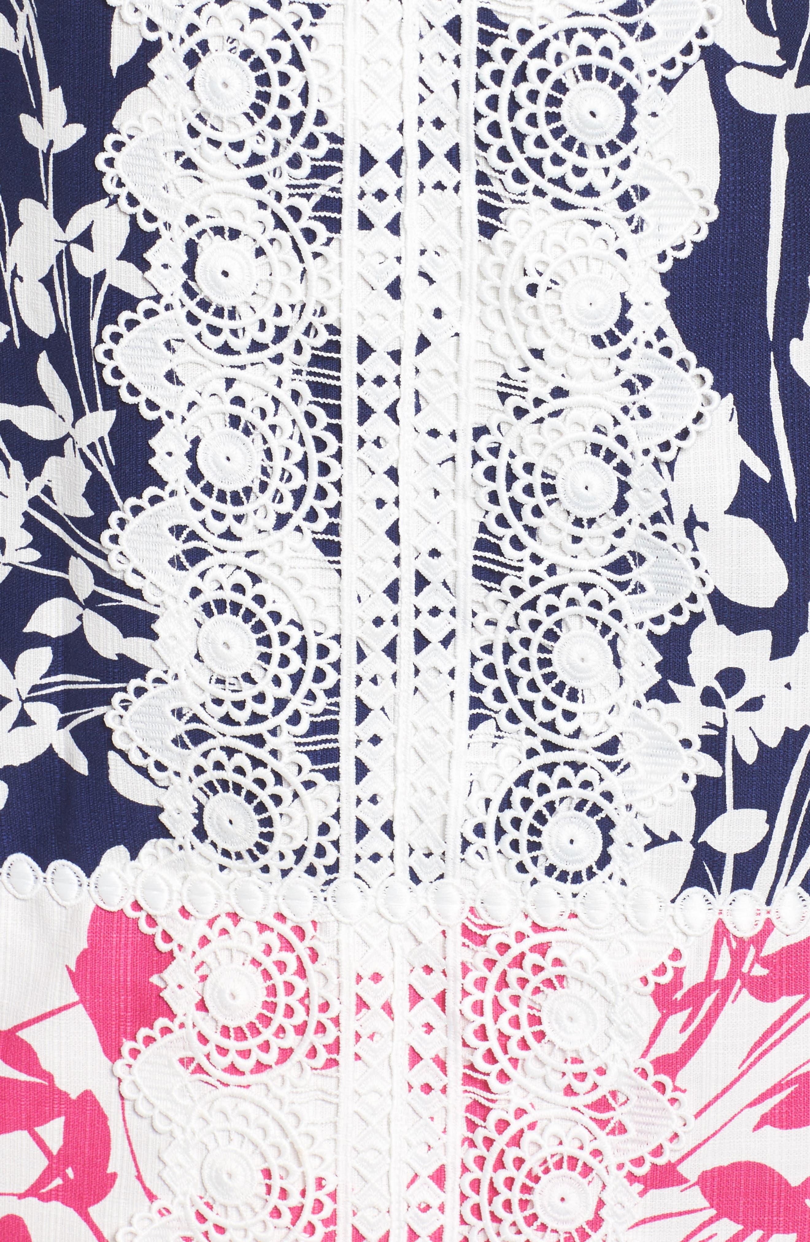 Lace Trim Two Tone Print Shift Dress,                             Alternate thumbnail 5, color,                             Navy/ Pink