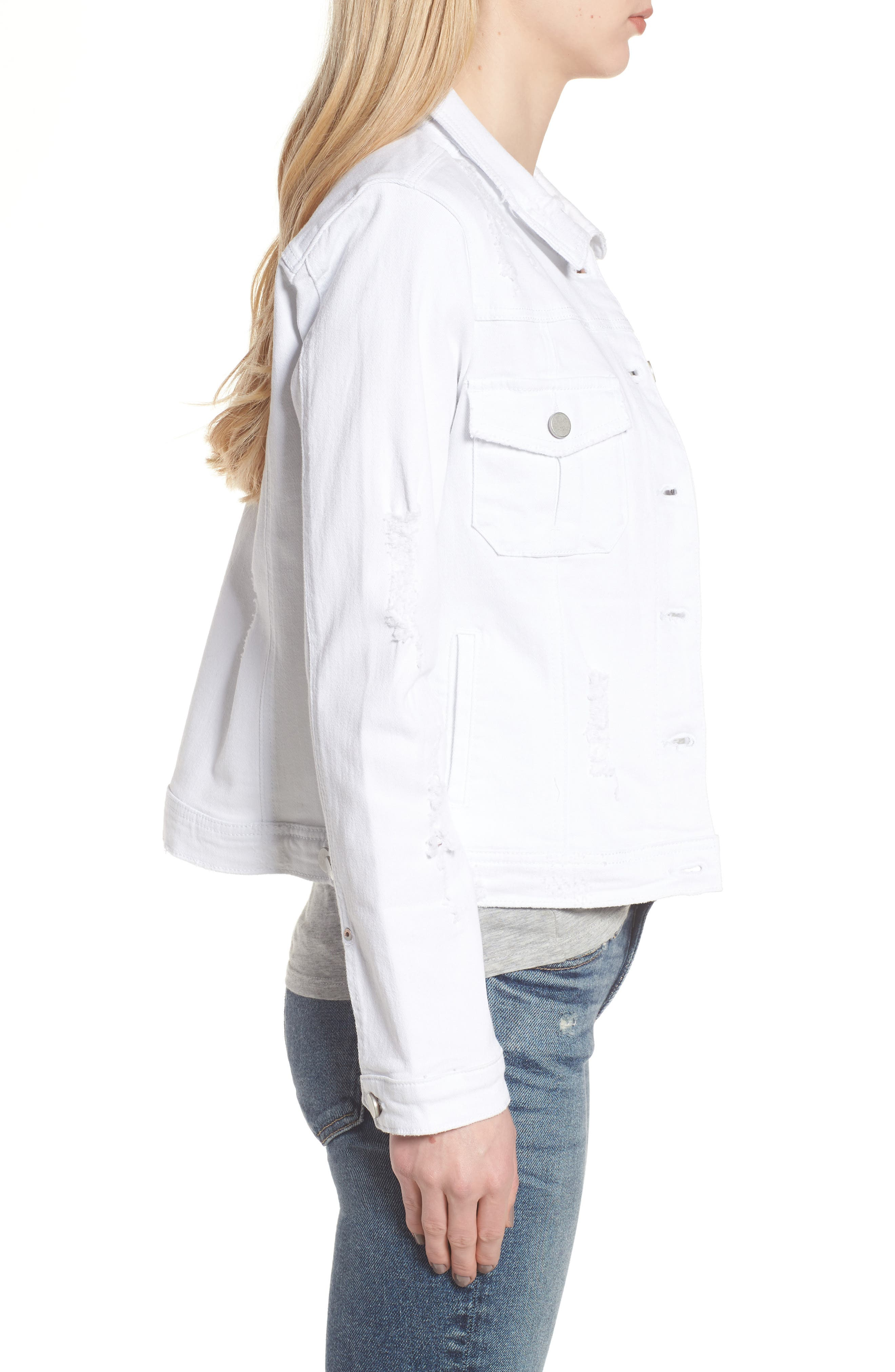 Classic Fit Distressed Denim Jacket,                             Alternate thumbnail 3, color,                             White