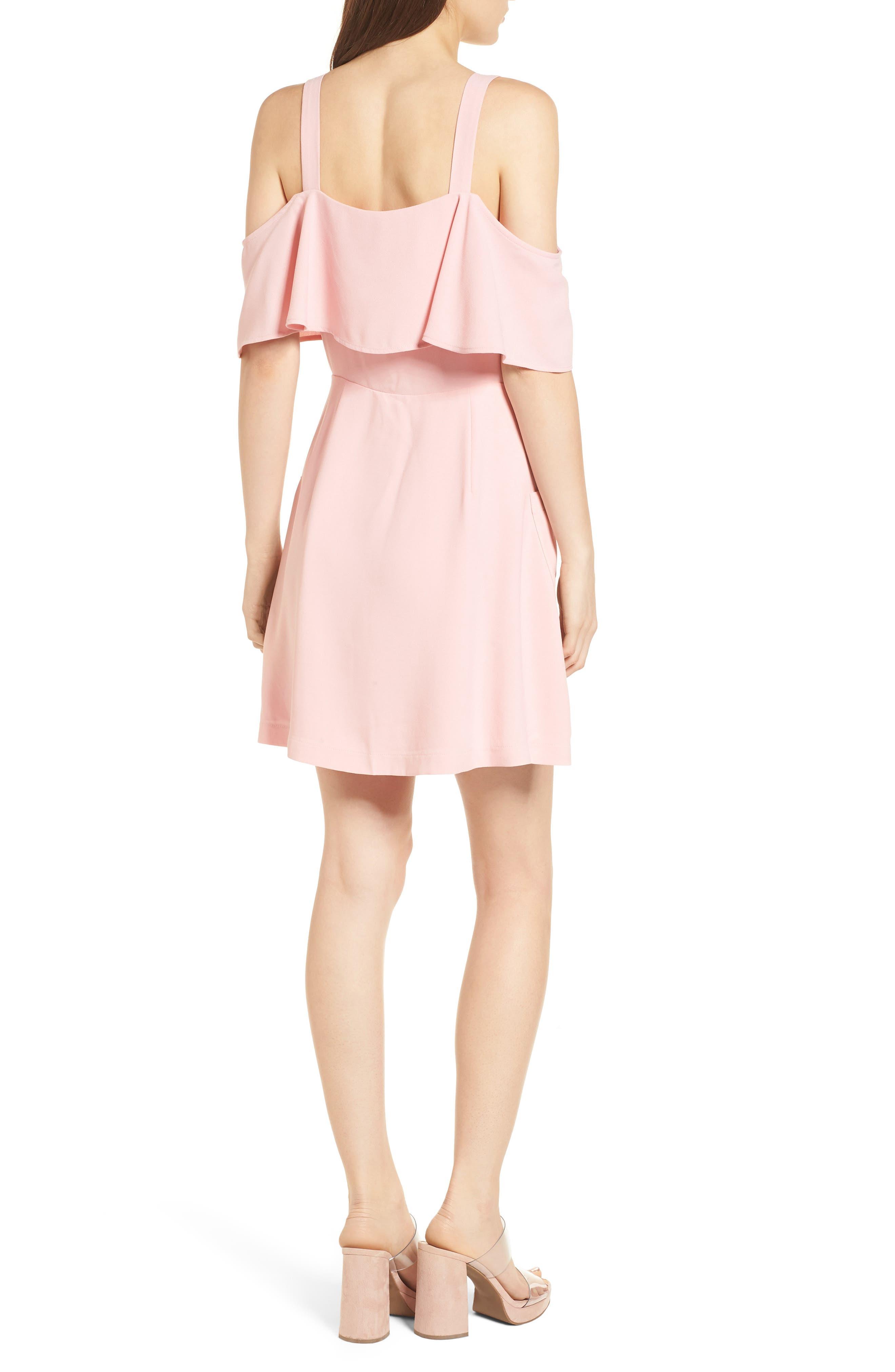 Cold Shoulder Dress,                             Alternate thumbnail 2, color,                             Peach