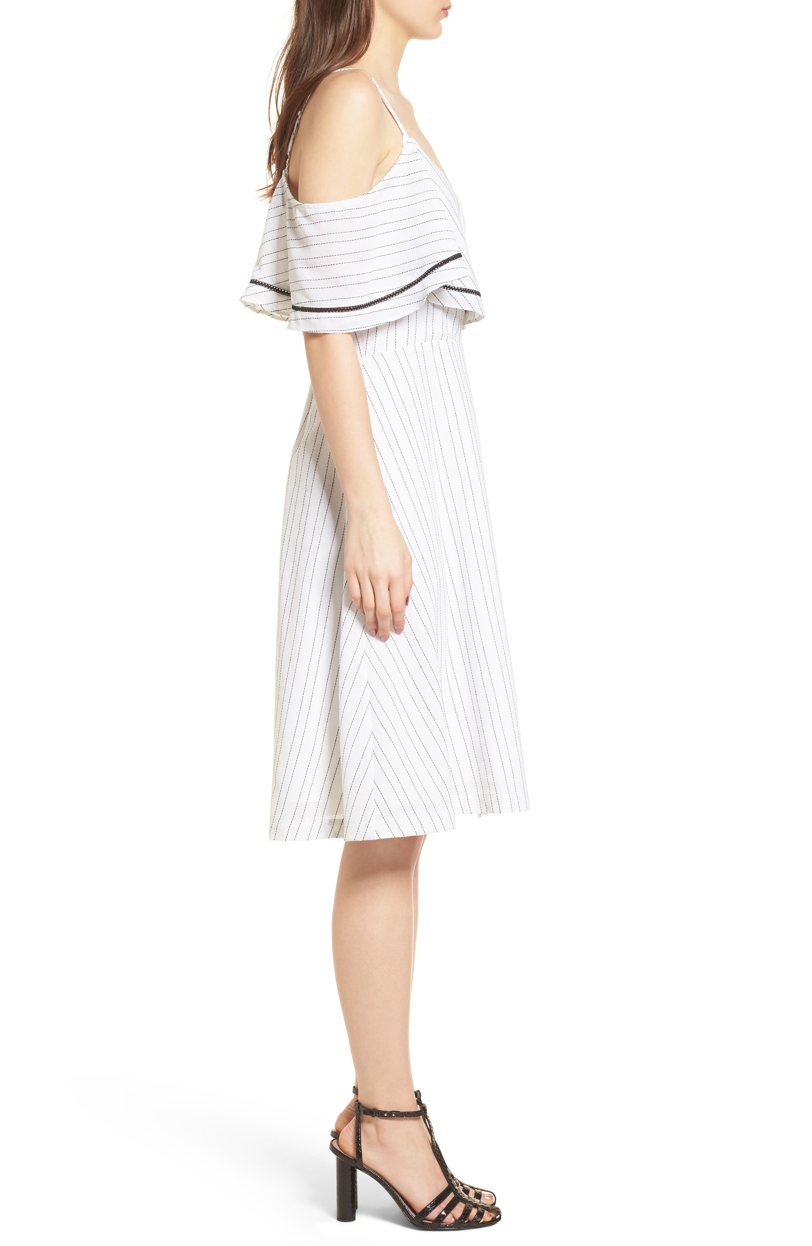 Cold Shoulder Midi Dress,                             Alternate thumbnail 4, color,                             White/ Black