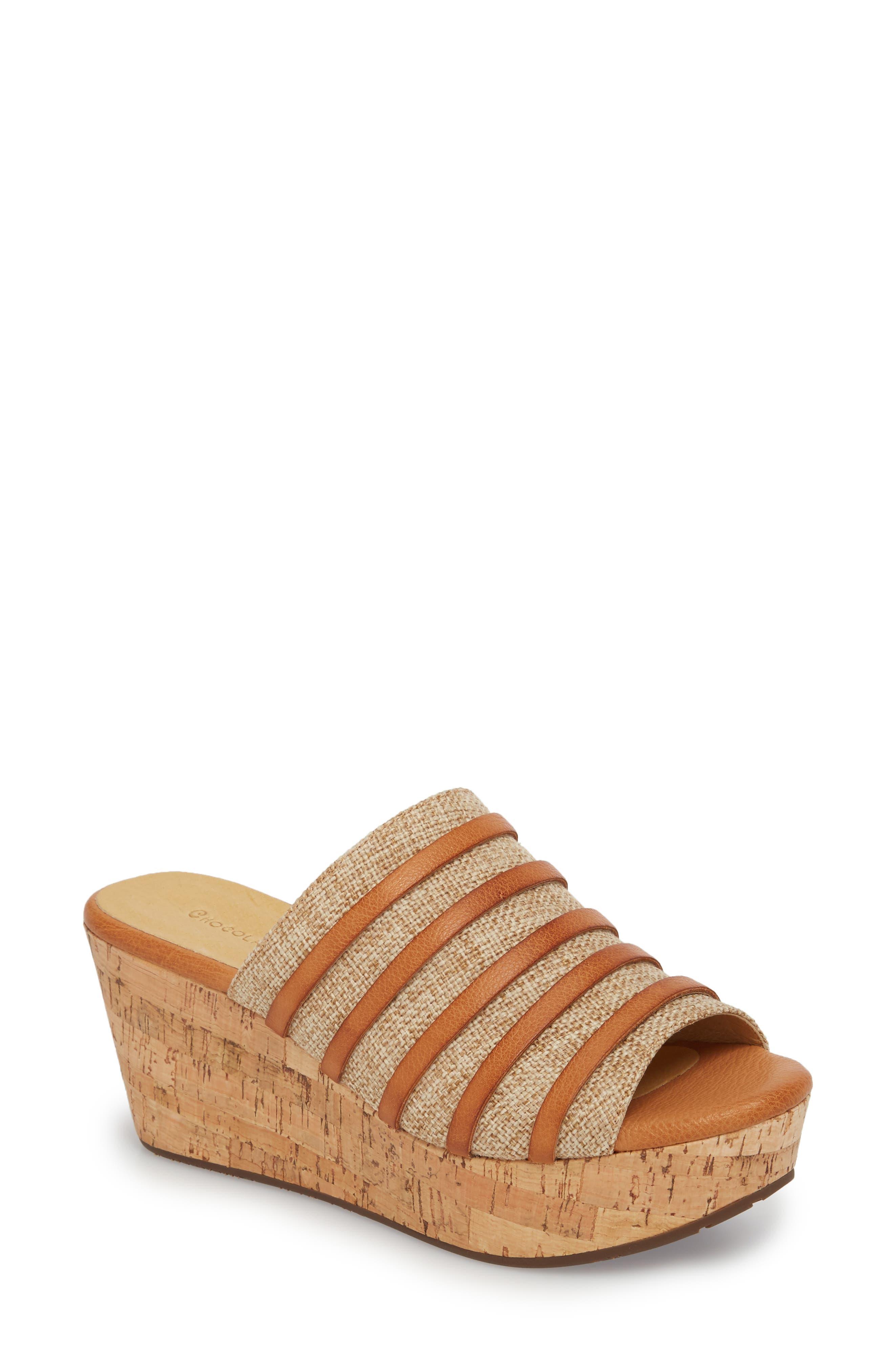Wapi Wedge Sandal,                         Main,                         color, Camel Leather