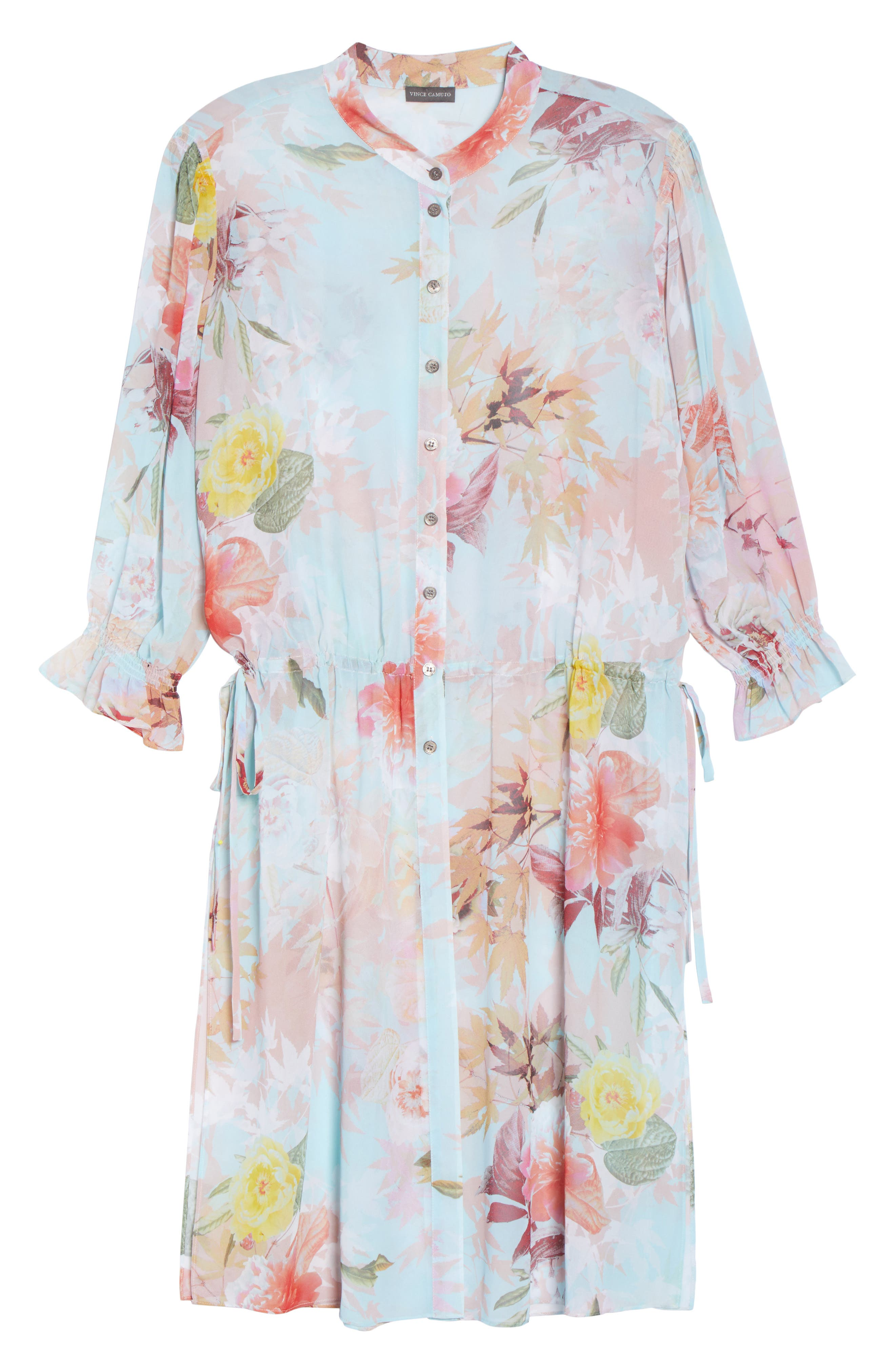 Faded Blooms Tunic Dress,                             Alternate thumbnail 6, color,                             Aqua Glow