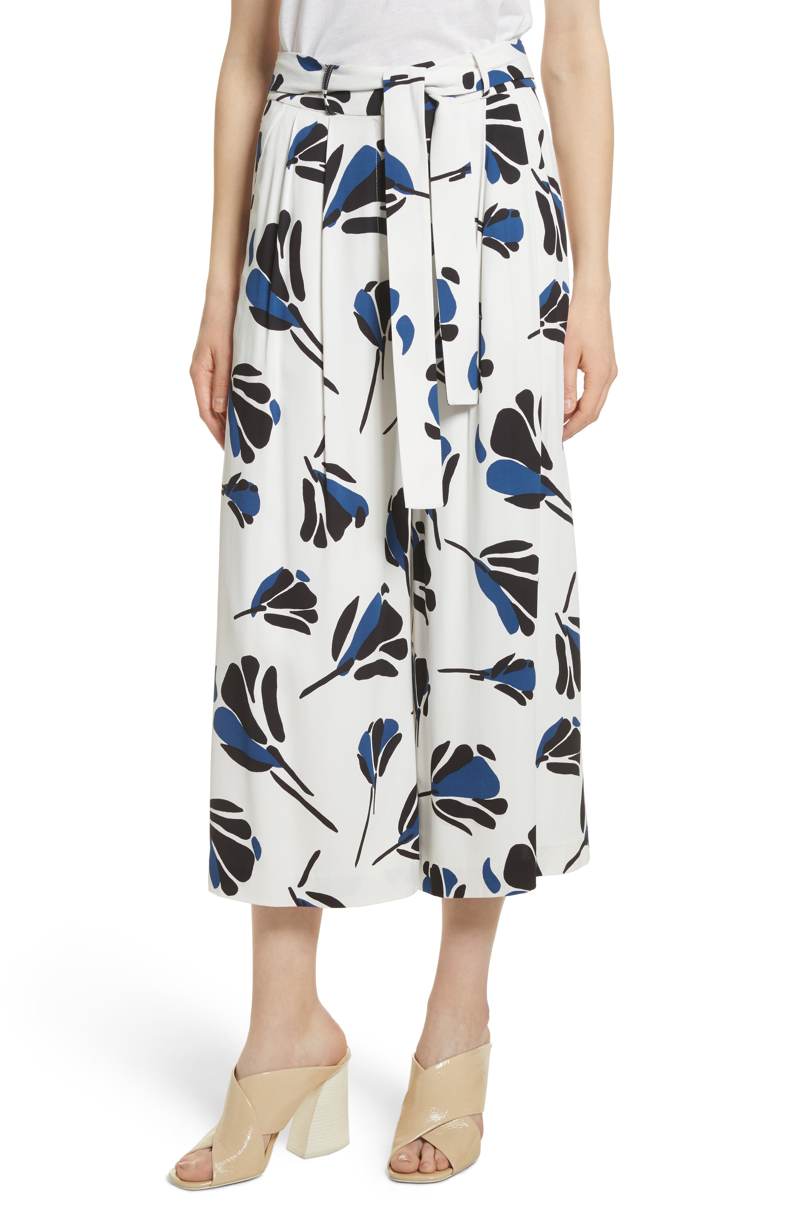 Print Crepe Pants,                         Main,                         color, Star White