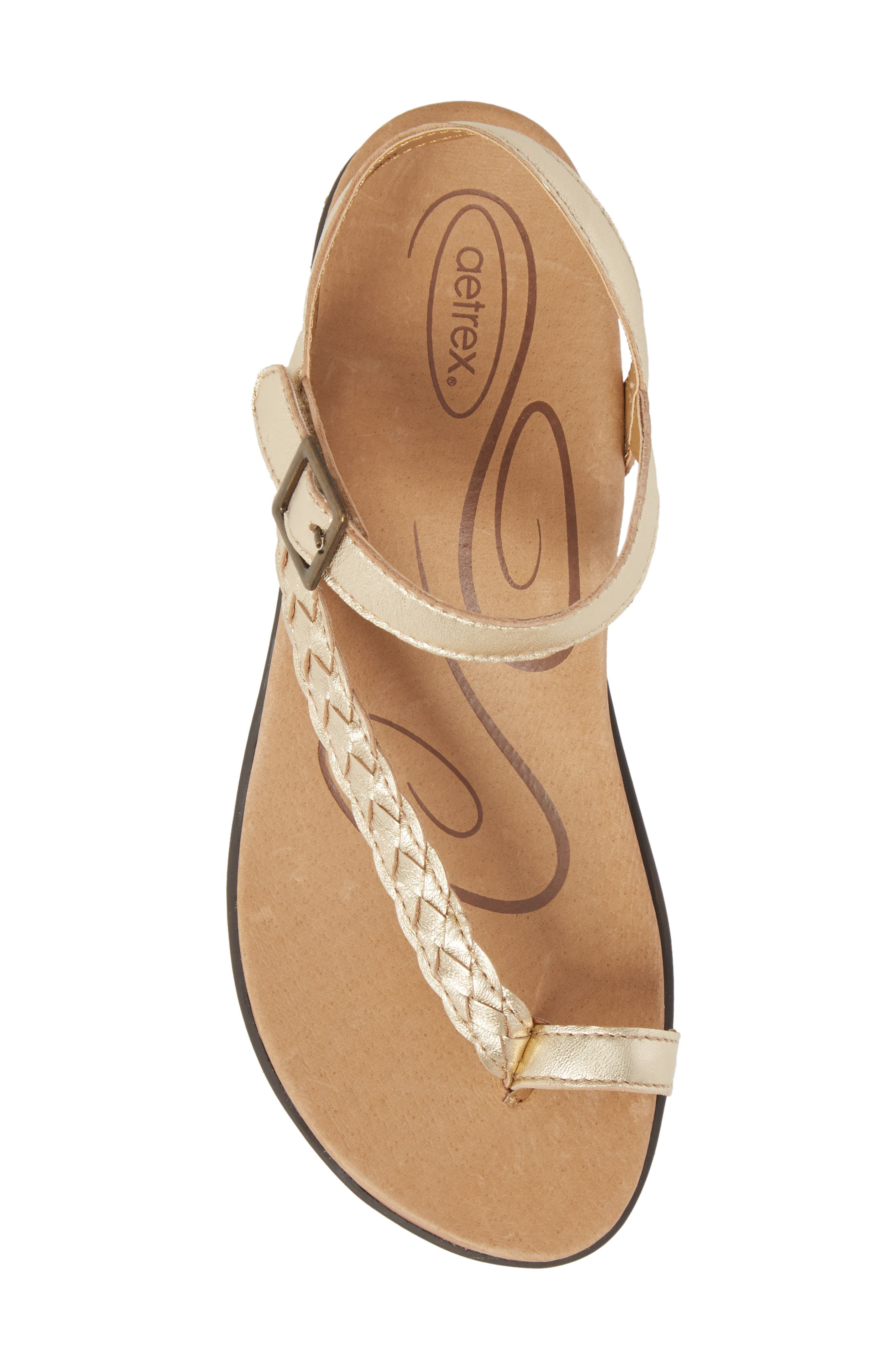Evie Braided Strap Sandal,                             Alternate thumbnail 5, color,                             Gold Leather
