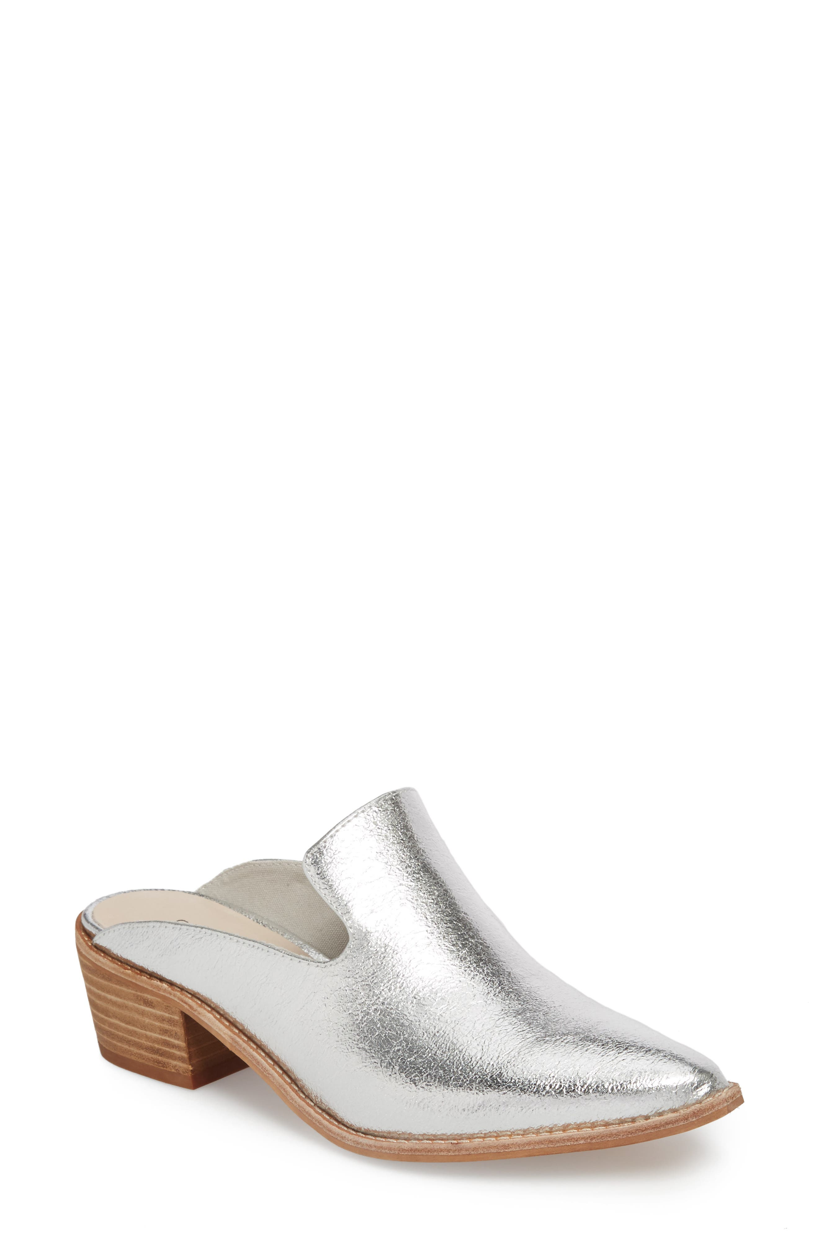 Marnie Loafer Mule,                             Main thumbnail 1, color,                             Silver