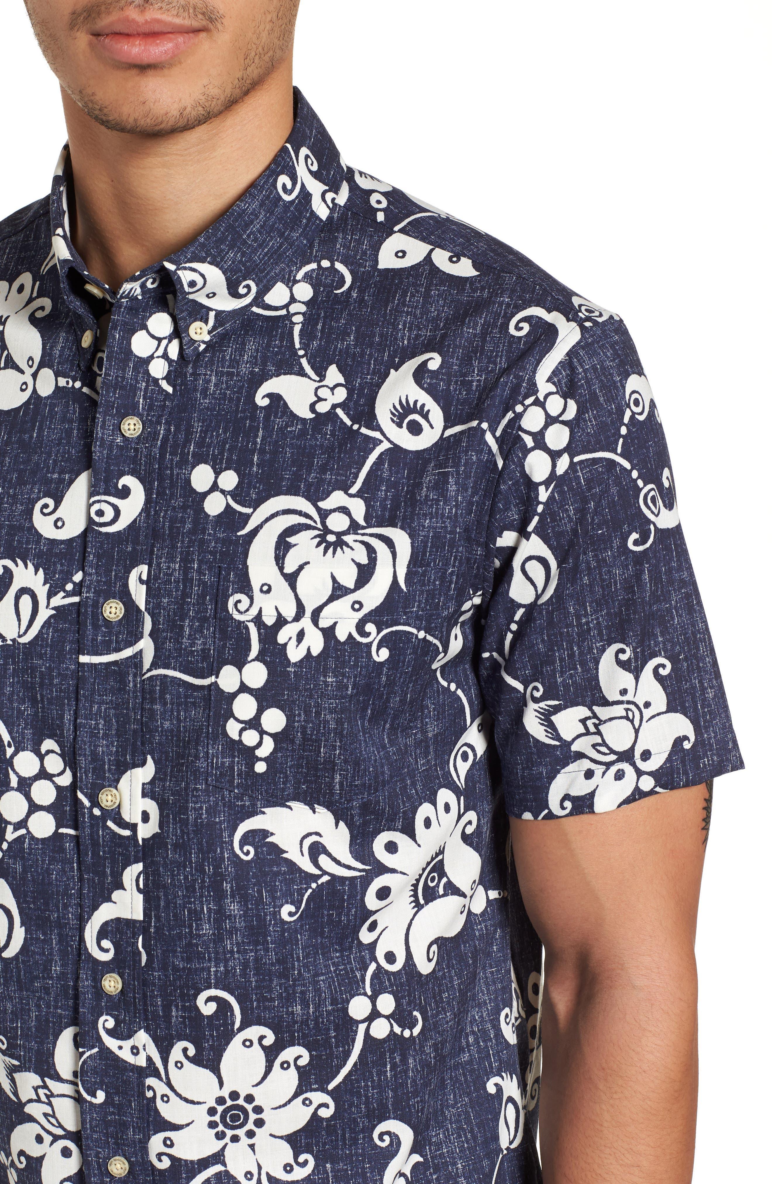 Aloha Pareau Tailored Fit Sport Shirt,                             Alternate thumbnail 4, color,                             Navy