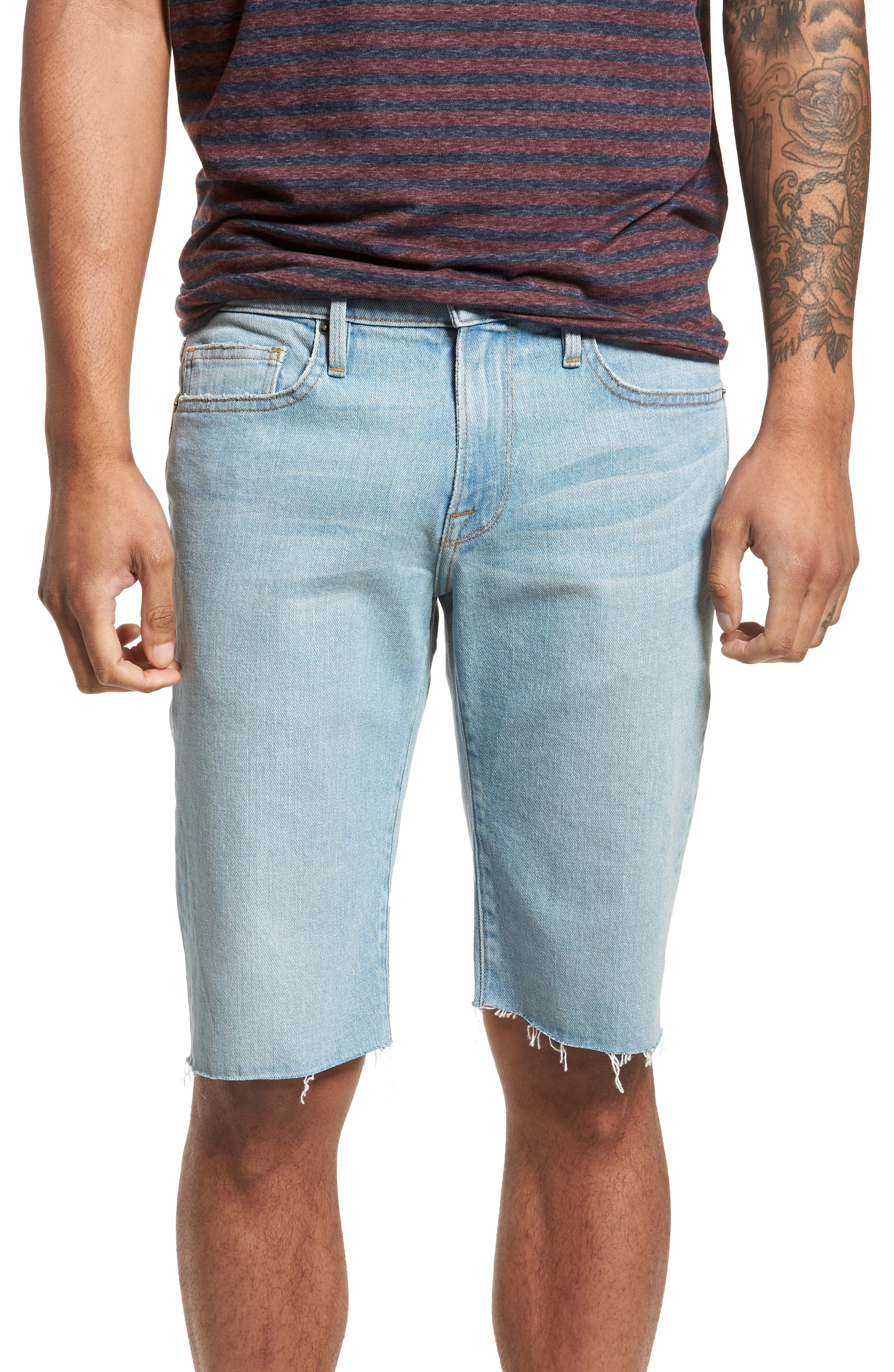 L'Homme Cutoff Denim Shorts,                         Main,                         color, Crosby