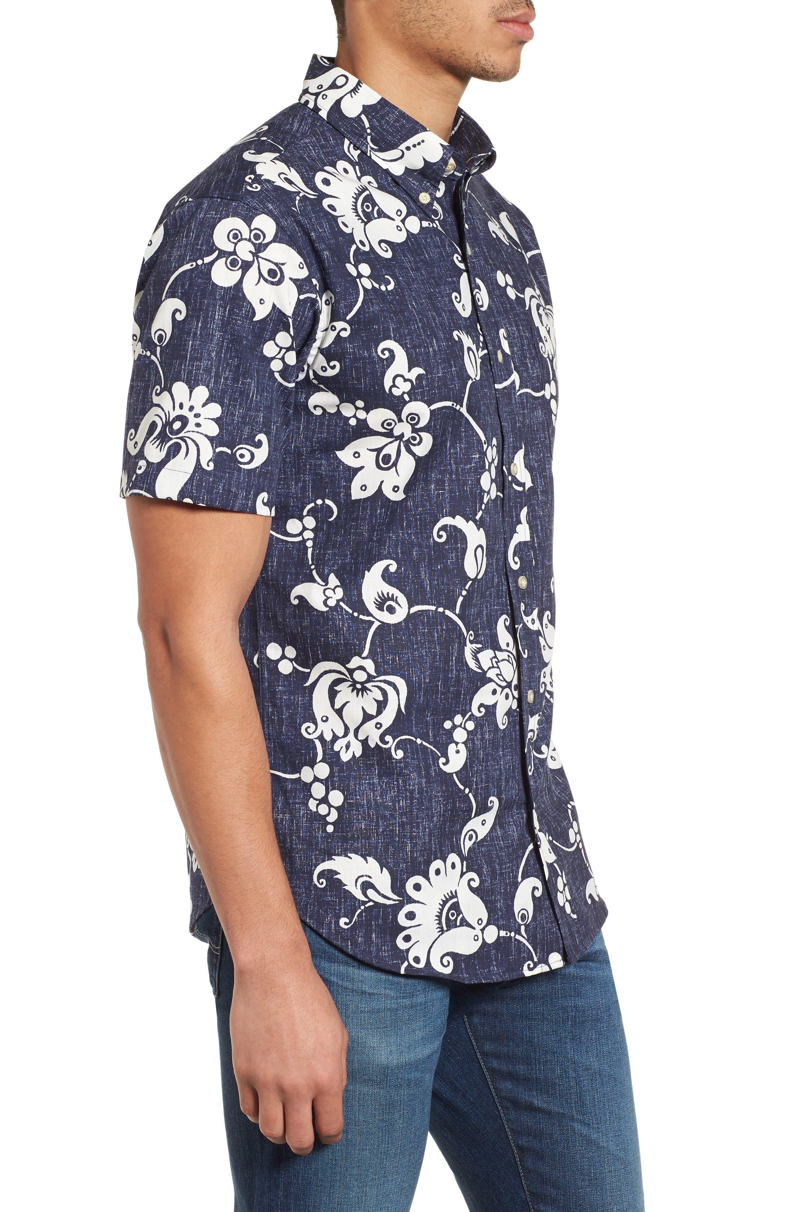 Aloha Pareau Tailored Fit Sport Shirt,                             Alternate thumbnail 3, color,                             Navy