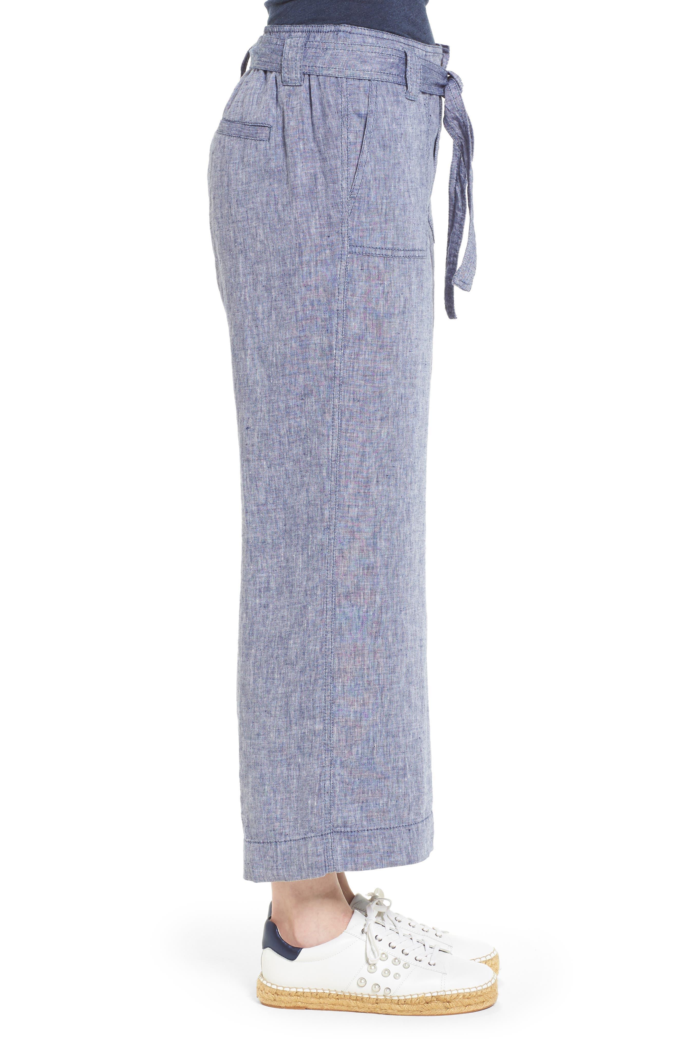 Wide Leg Crop Linen Pants,                             Alternate thumbnail 3, color,                             Navy Crossdye