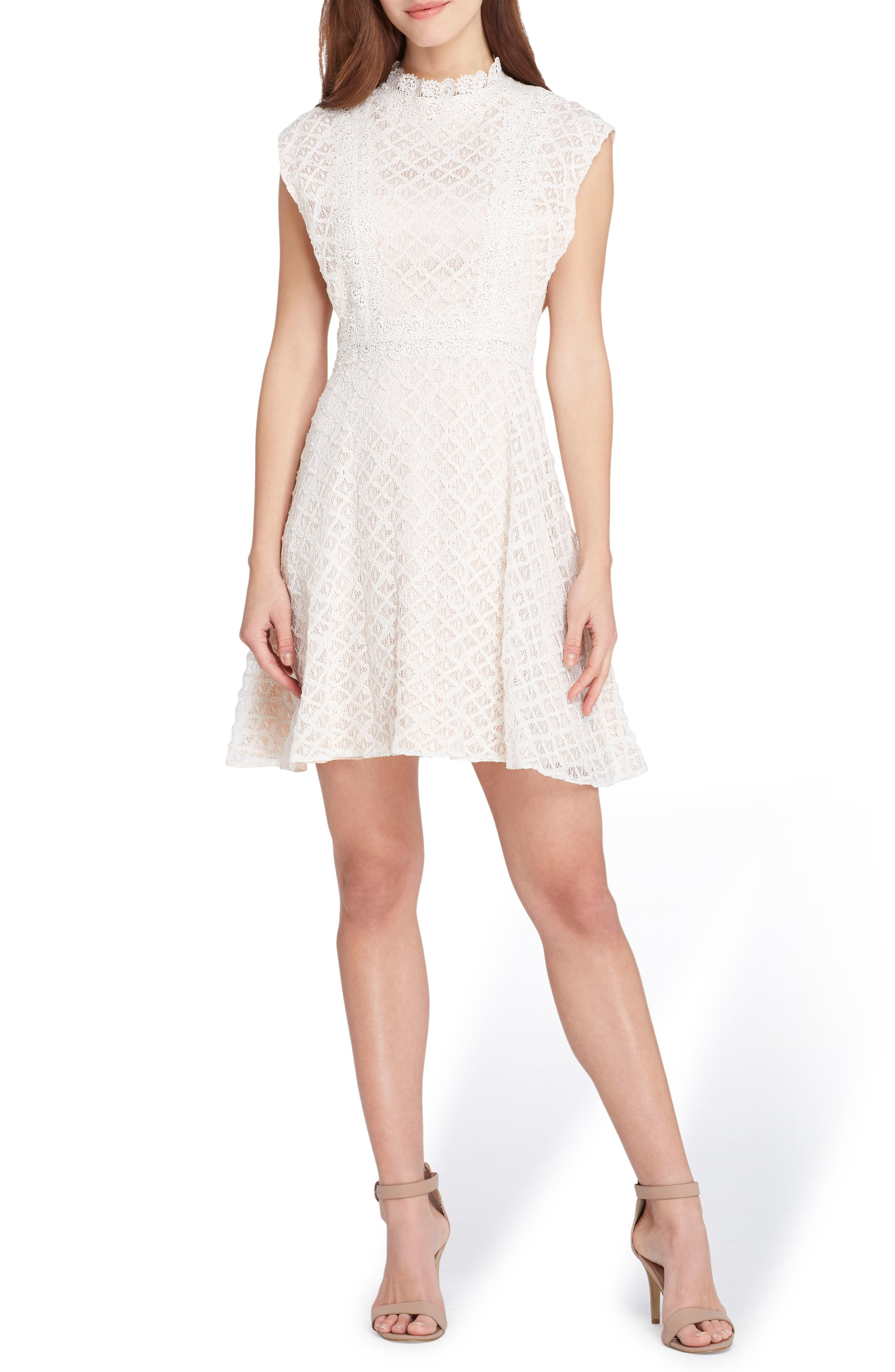 Lace Fit & Flare Dress,                             Main thumbnail 1, color,                             Ivory/ Nude