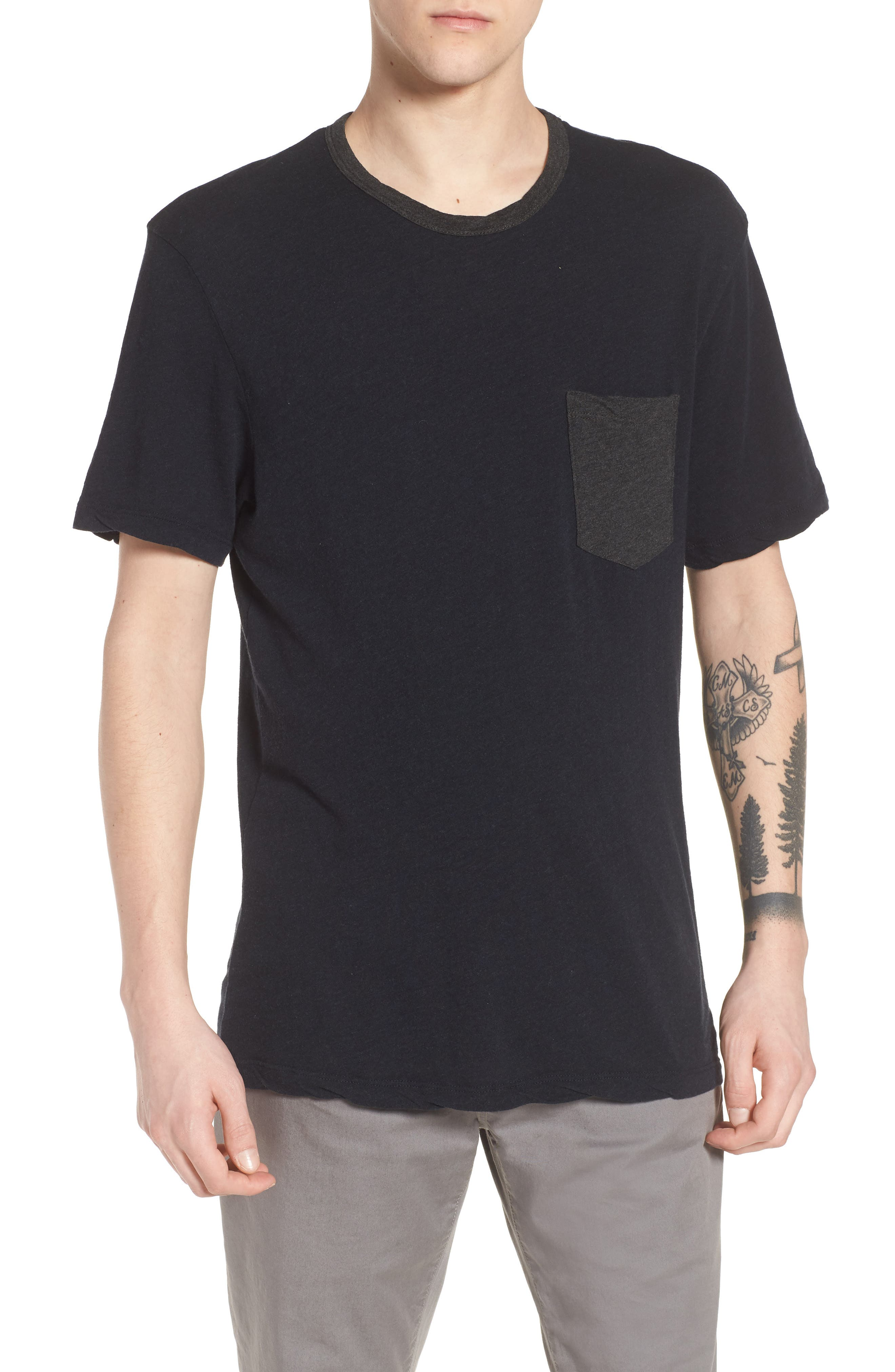 Two-Tone Pocket T-Shirt,                             Main thumbnail 1, color,                             Deep Anthracite