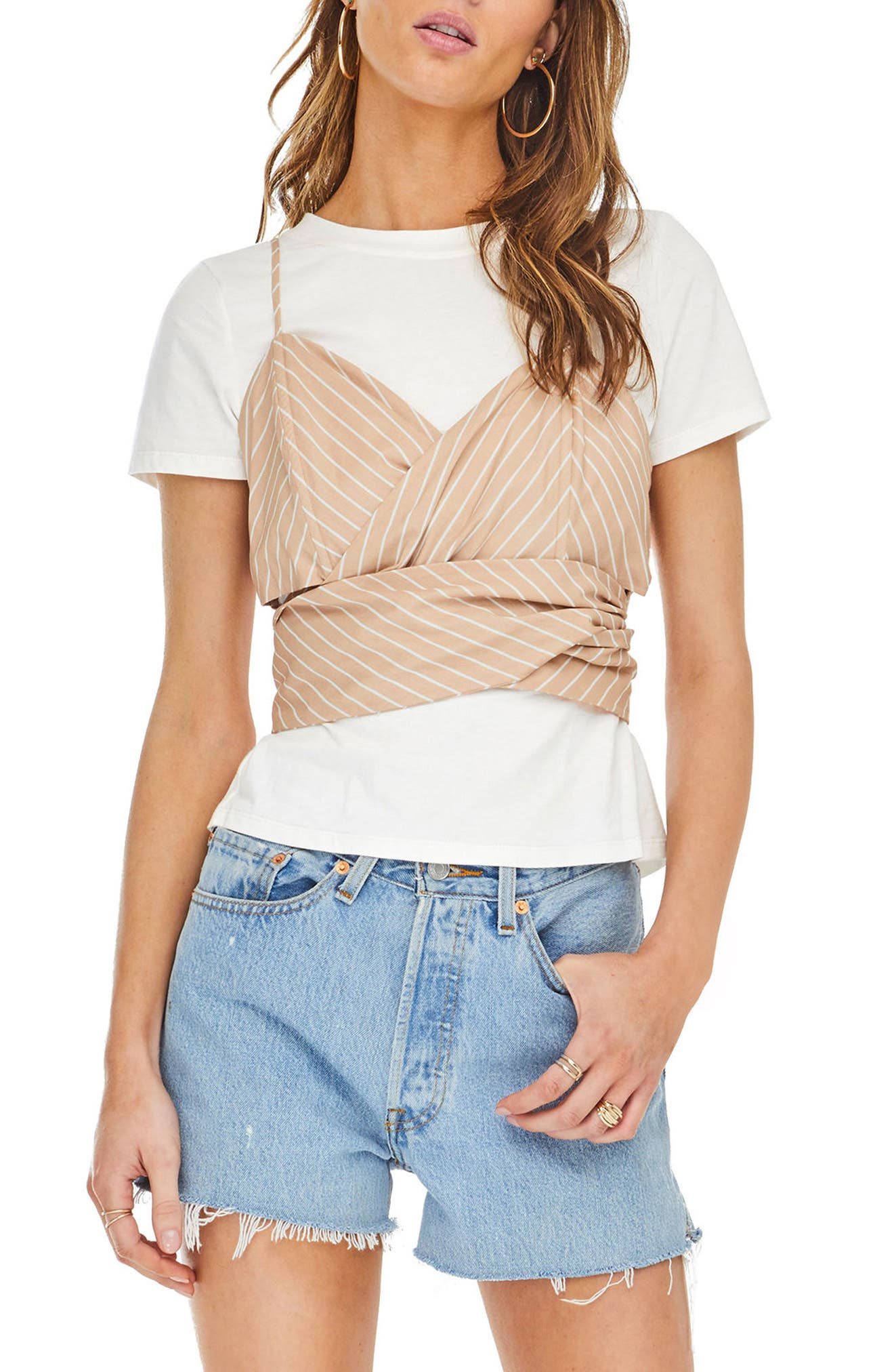 Maddie Layered Look Top,                         Main,                         color, Dusty Blush Stripe