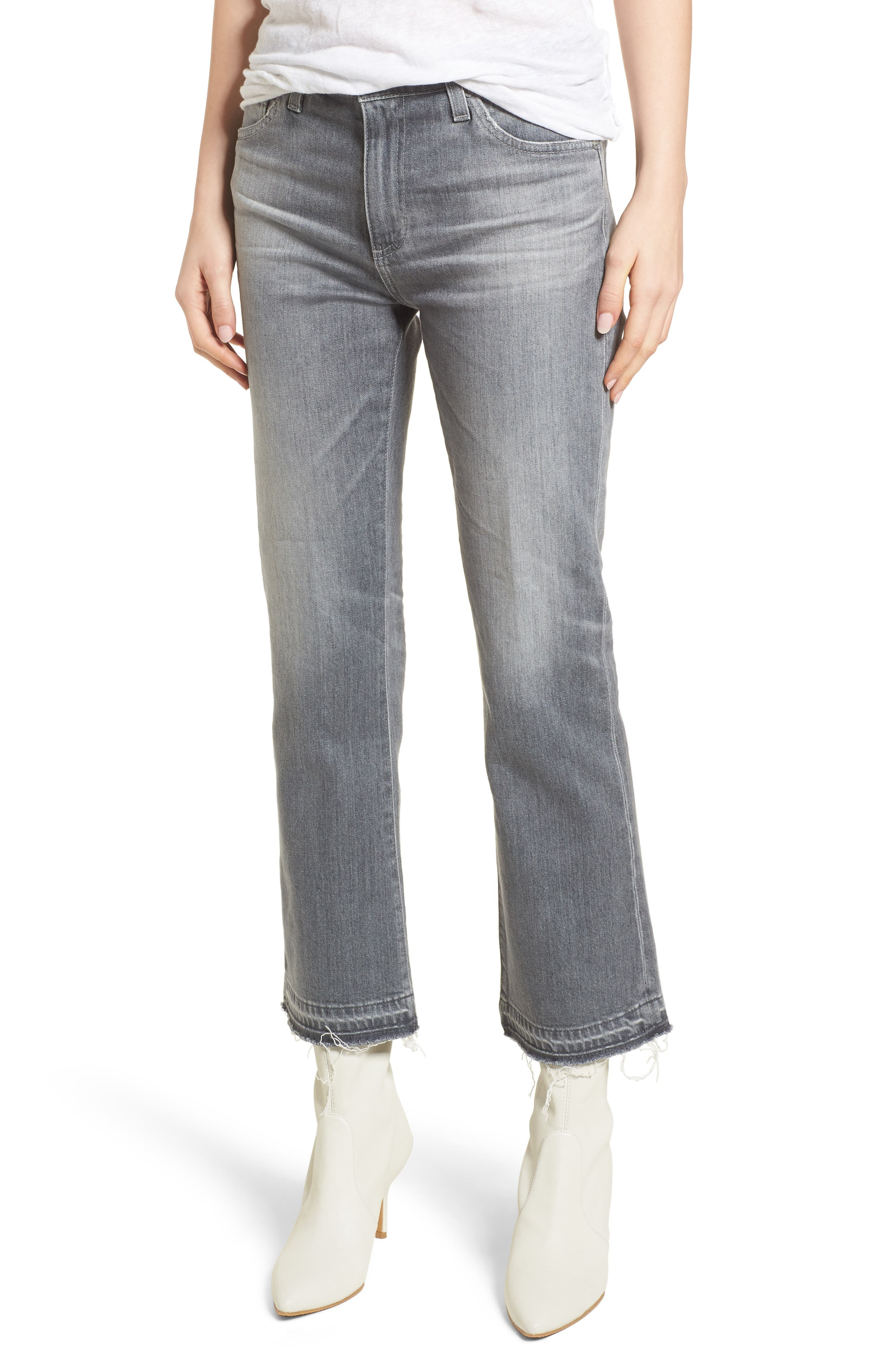The Jodi Crop Flare Jeans,                         Main,                         color, 15 Years-Grey Sulfur