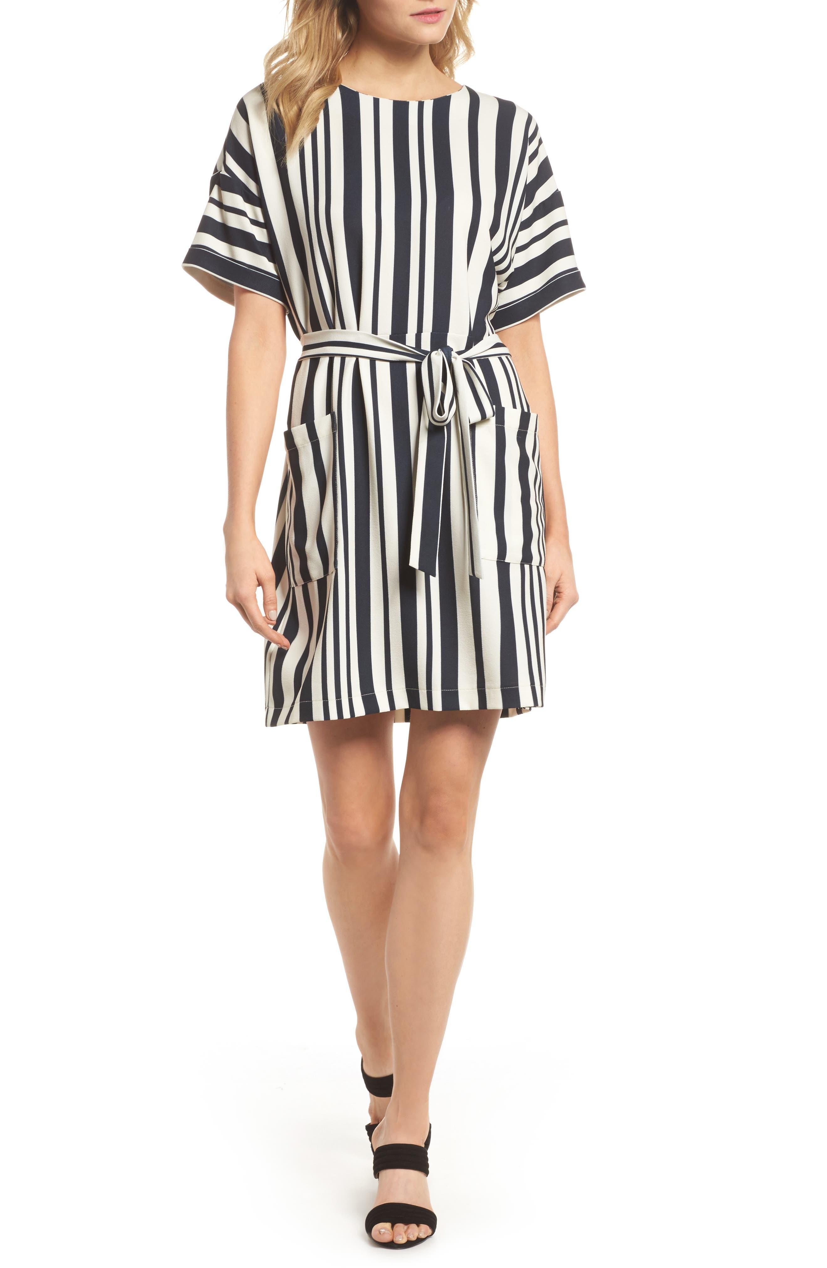 Sterling Stripe Dress,                         Main,                         color, Black/ Cream