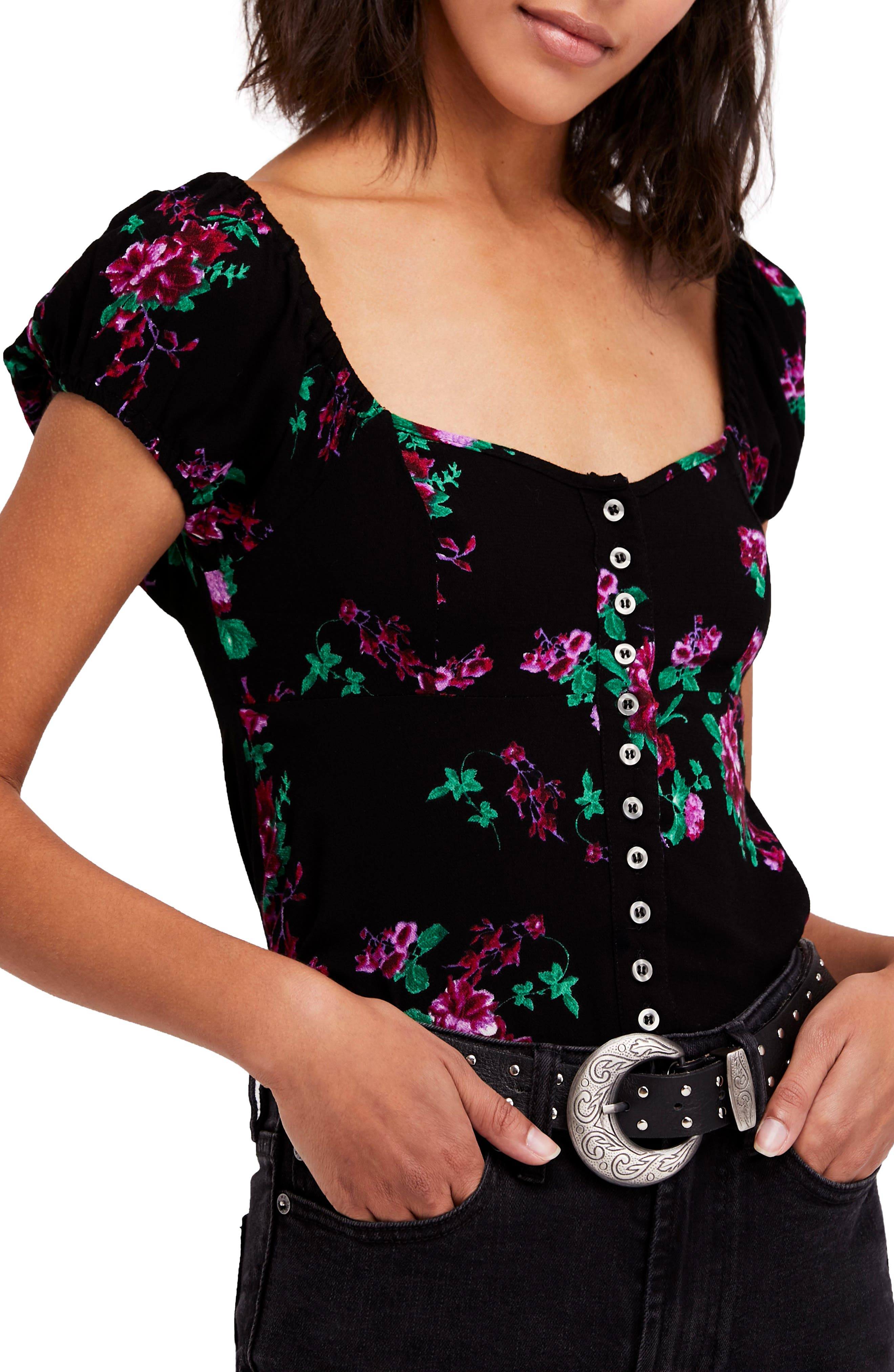 Close to You Floral Blouse,                         Main,                         color, Black Combo