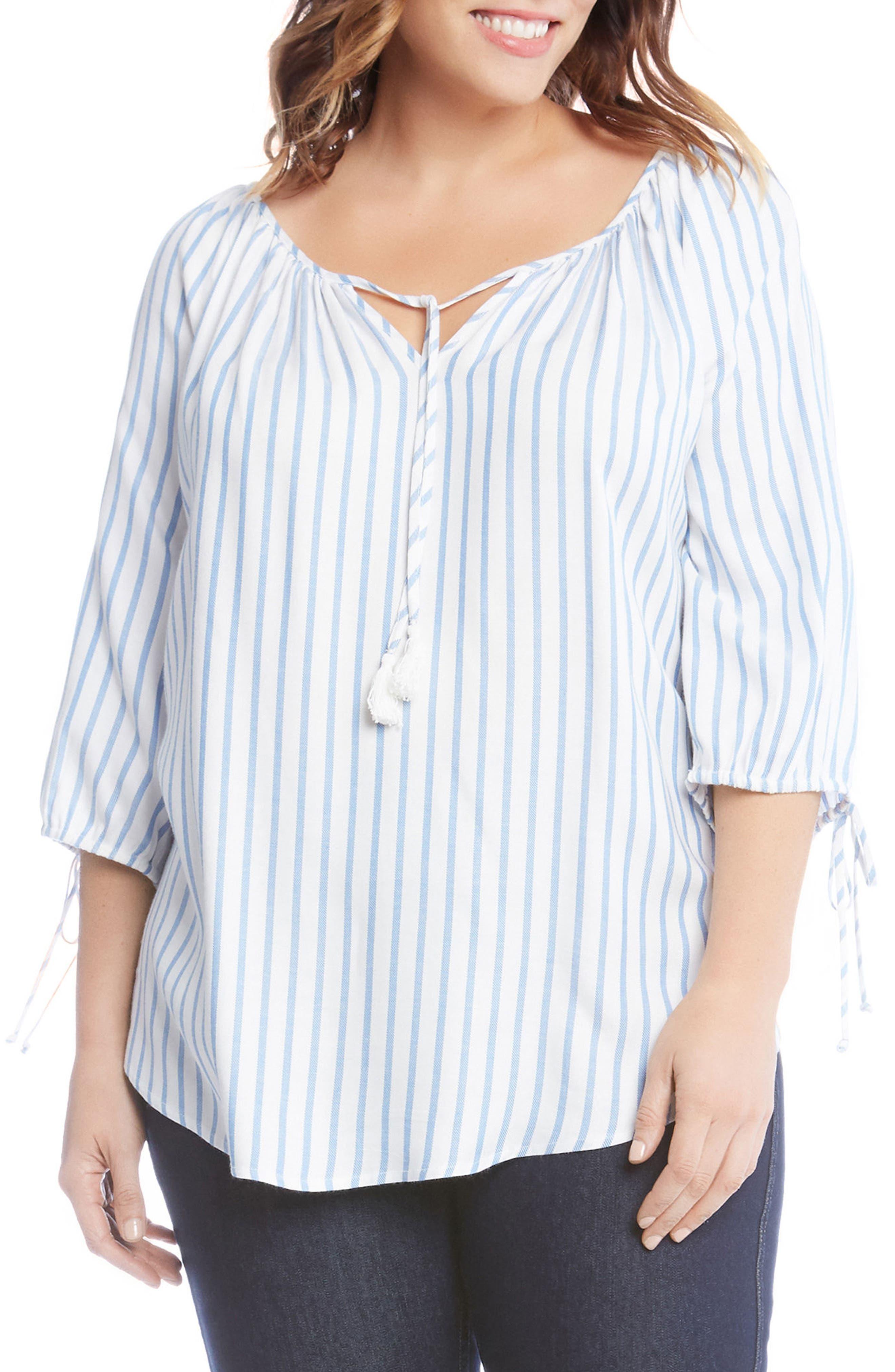 Main Image - Karen Kane Tie Sleeve Peasant Top (Plus Size)