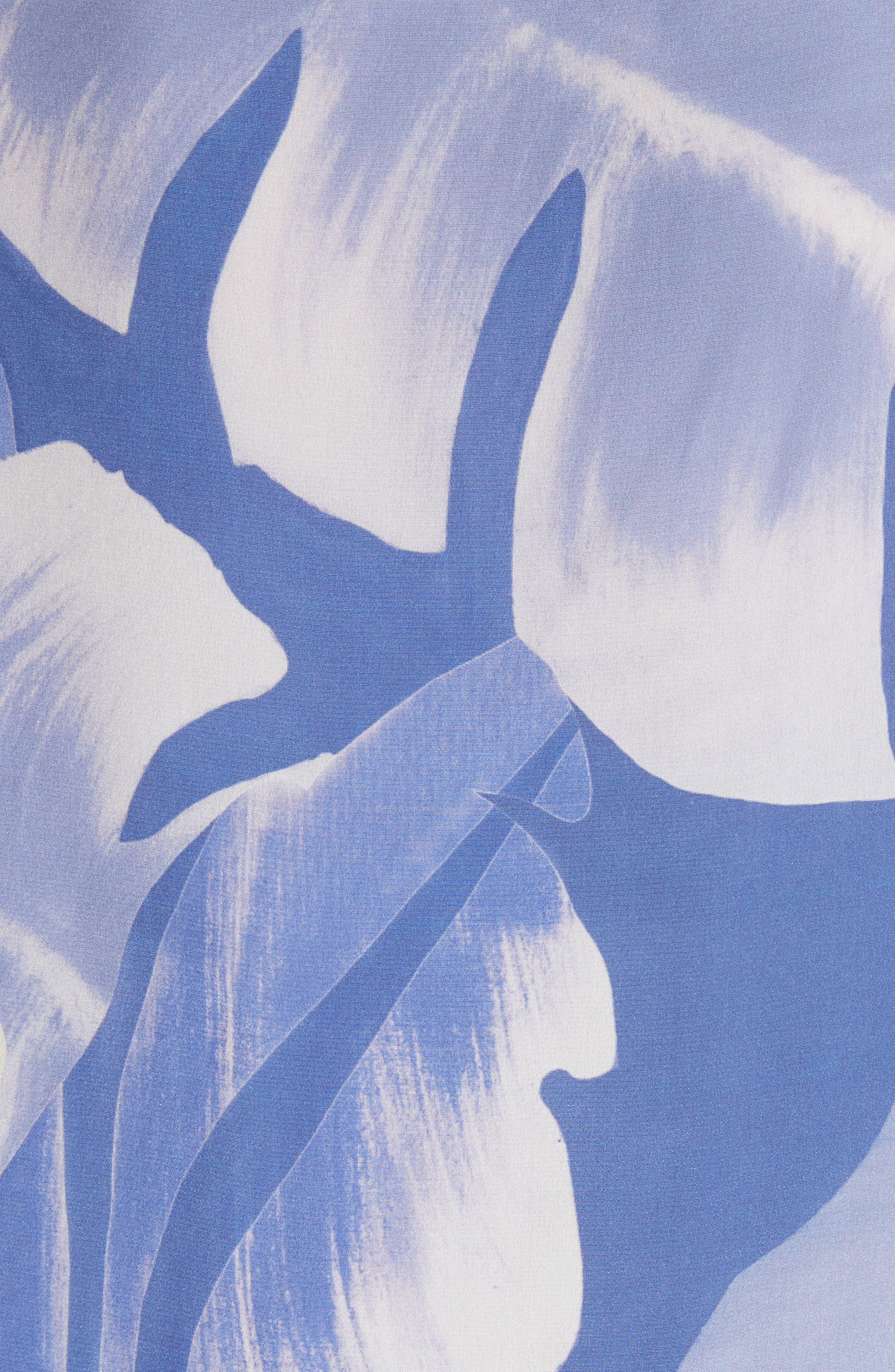 Georgina Print Silk Blouse,                             Alternate thumbnail 6, color,                             Periwinkle Multi