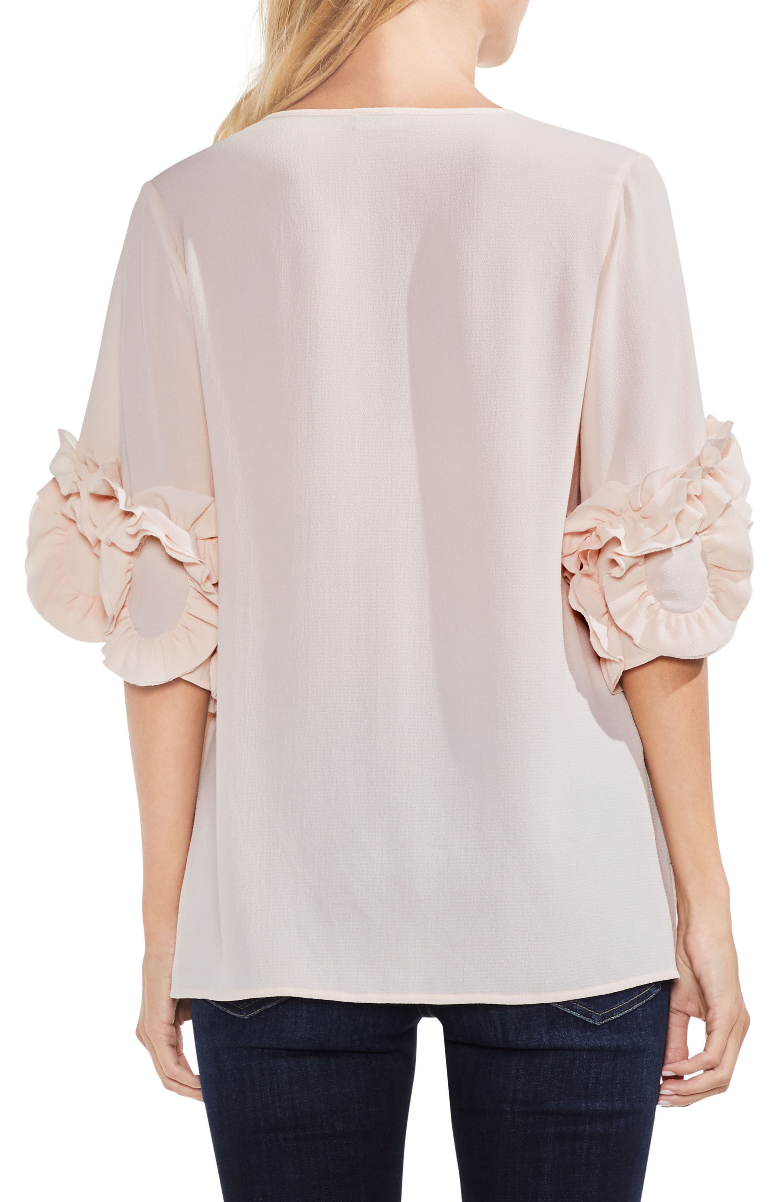 Ruffle Sleeve Tie Neck Blouse,                             Alternate thumbnail 2, color,                             Pink Mist