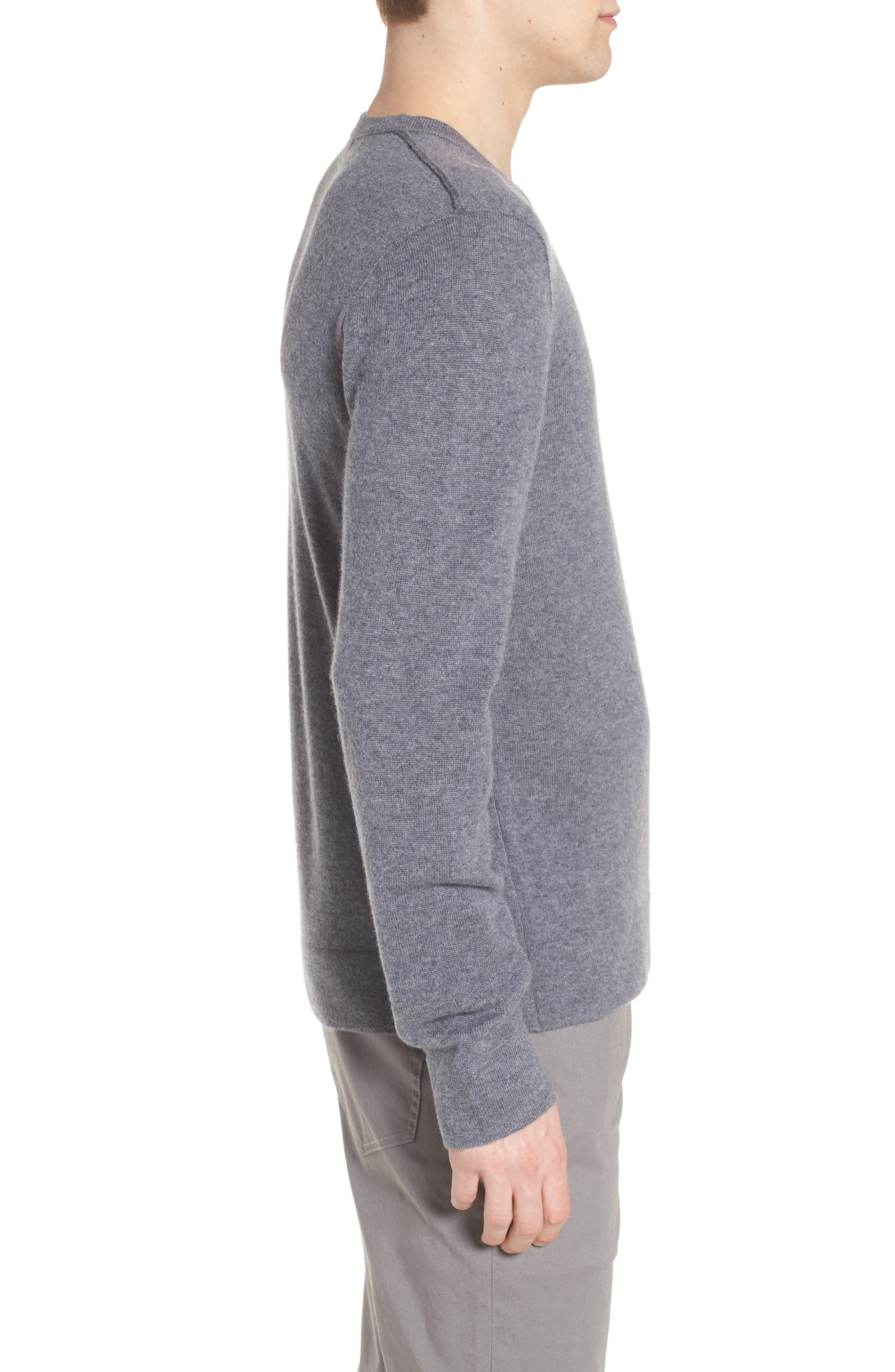 Cashmere V-Neck Sweater,                             Alternate thumbnail 3, color,                             Flannel