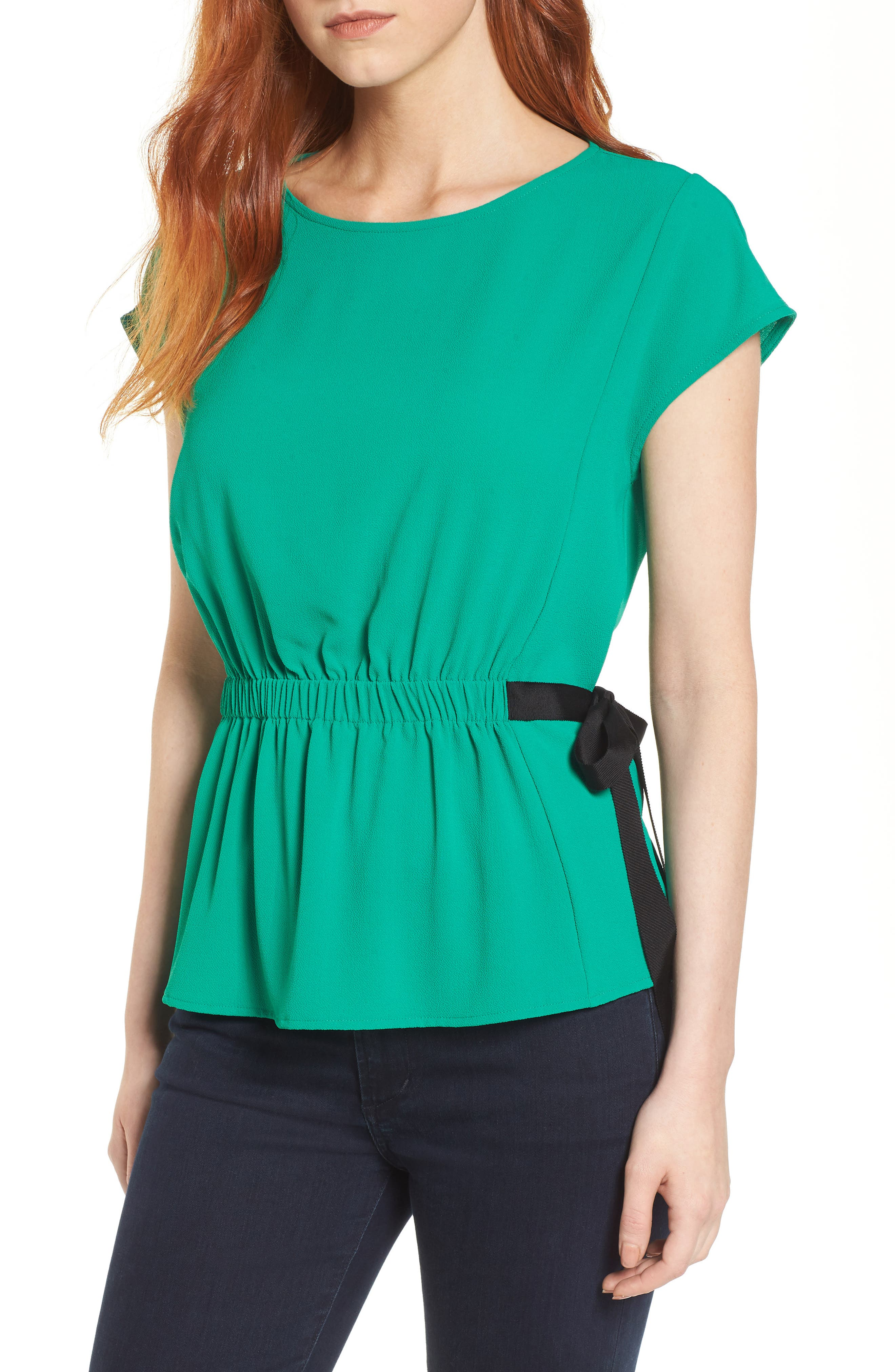 Gathered Waist Side Tie Top,                             Main thumbnail 1, color,                             Kelly Green With Black Tie