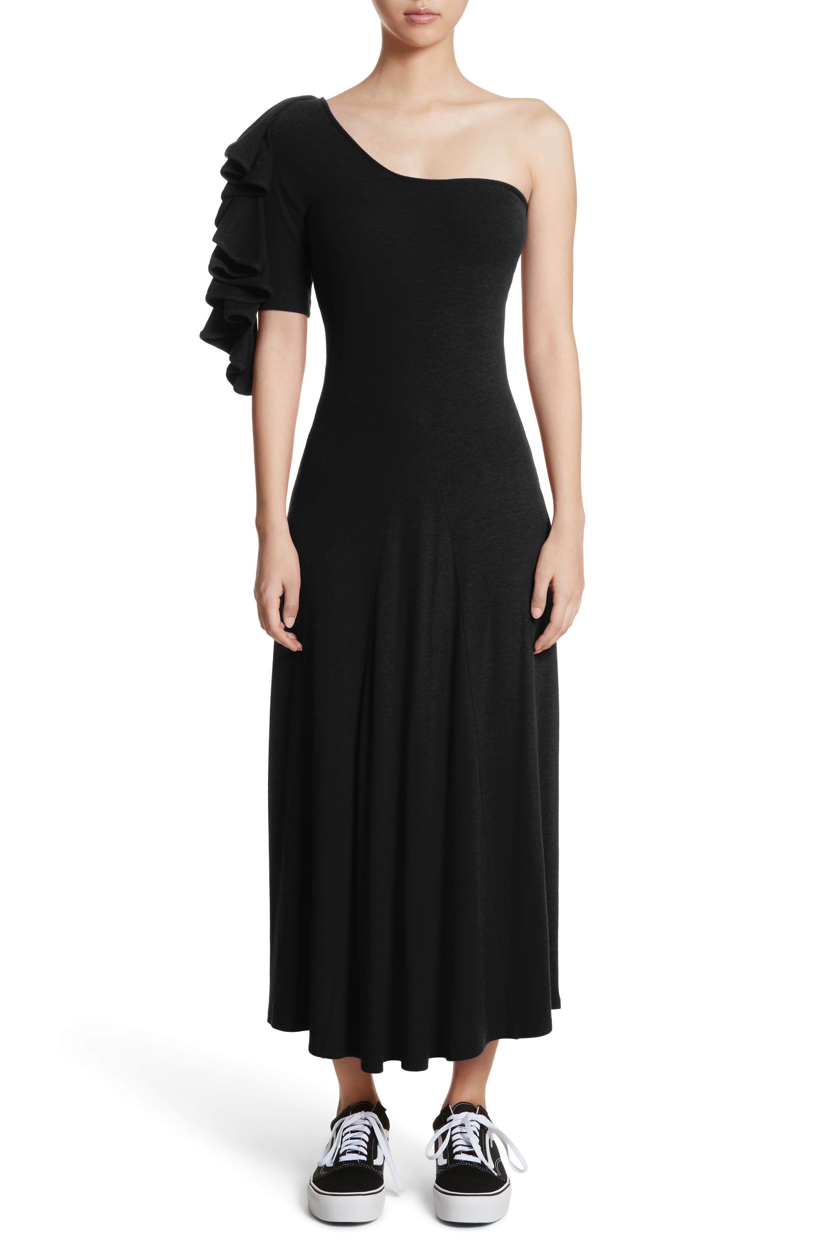Dione One-Shoulder Dress,                             Main thumbnail 1, color,                             Black
