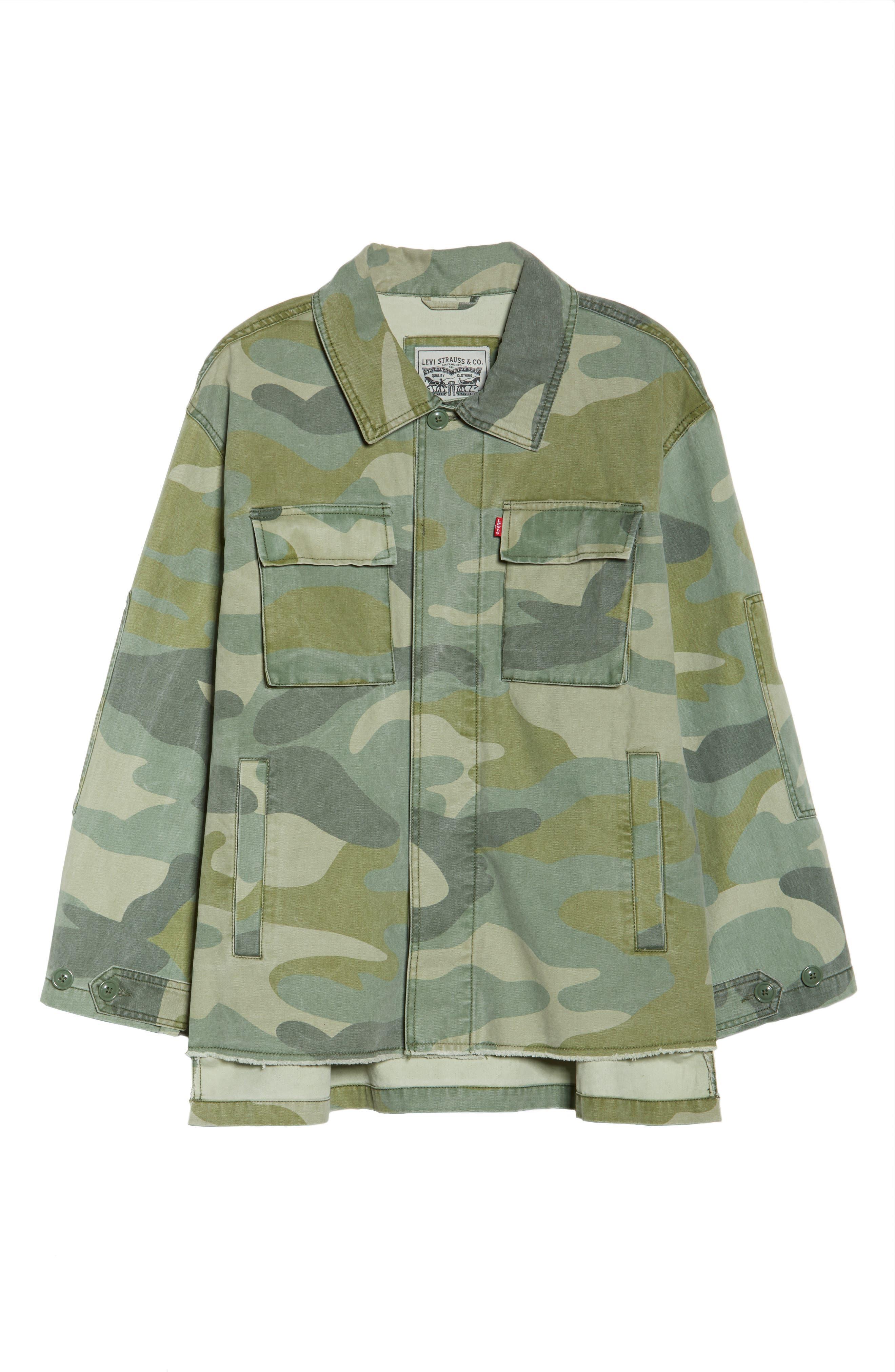 High/Low Shirt Jacket,                             Alternate thumbnail 7, color,                             Light Green Camo