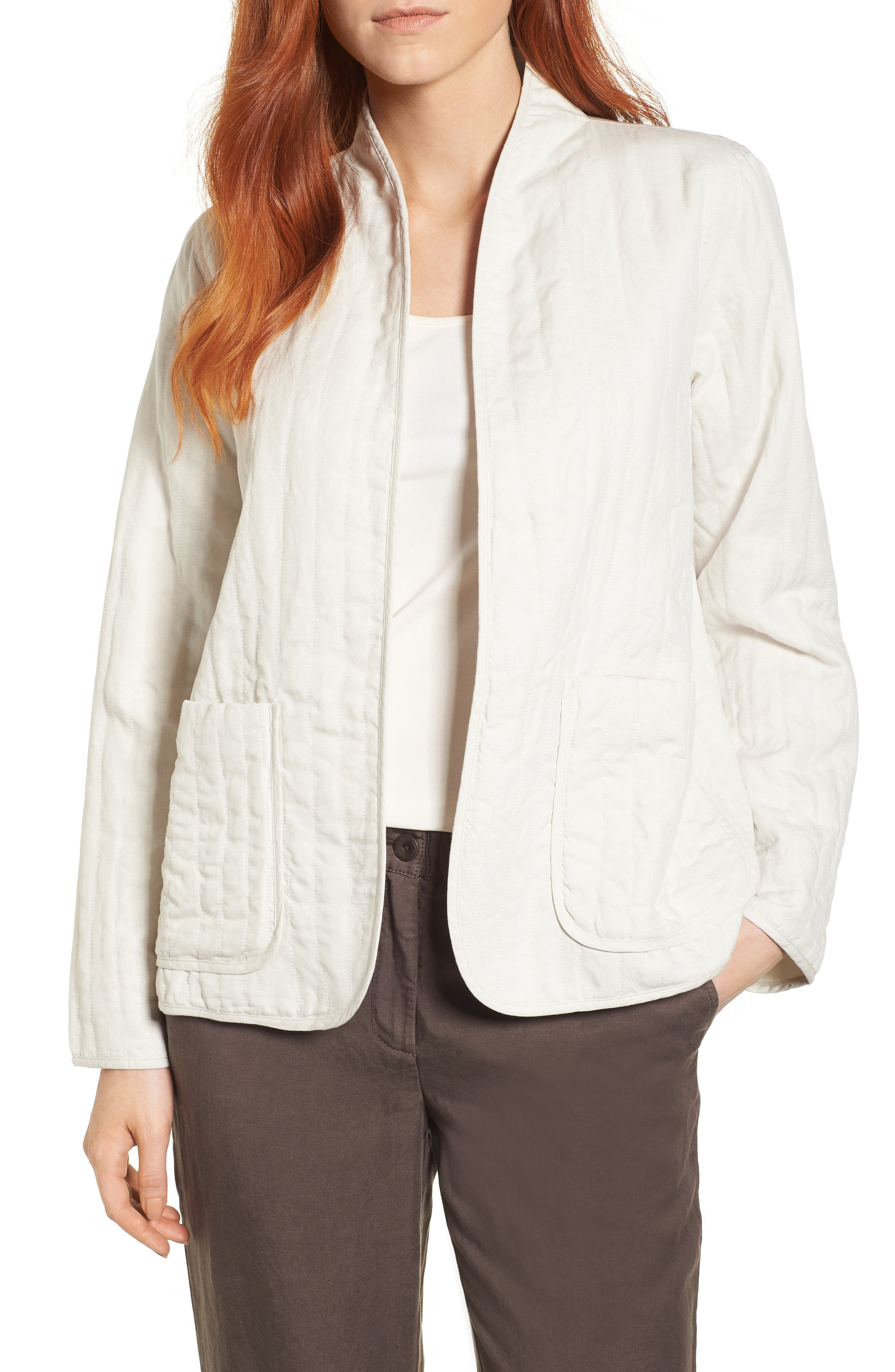 High Collar Quilted Jacket,                             Main thumbnail 1, color,                             Bone
